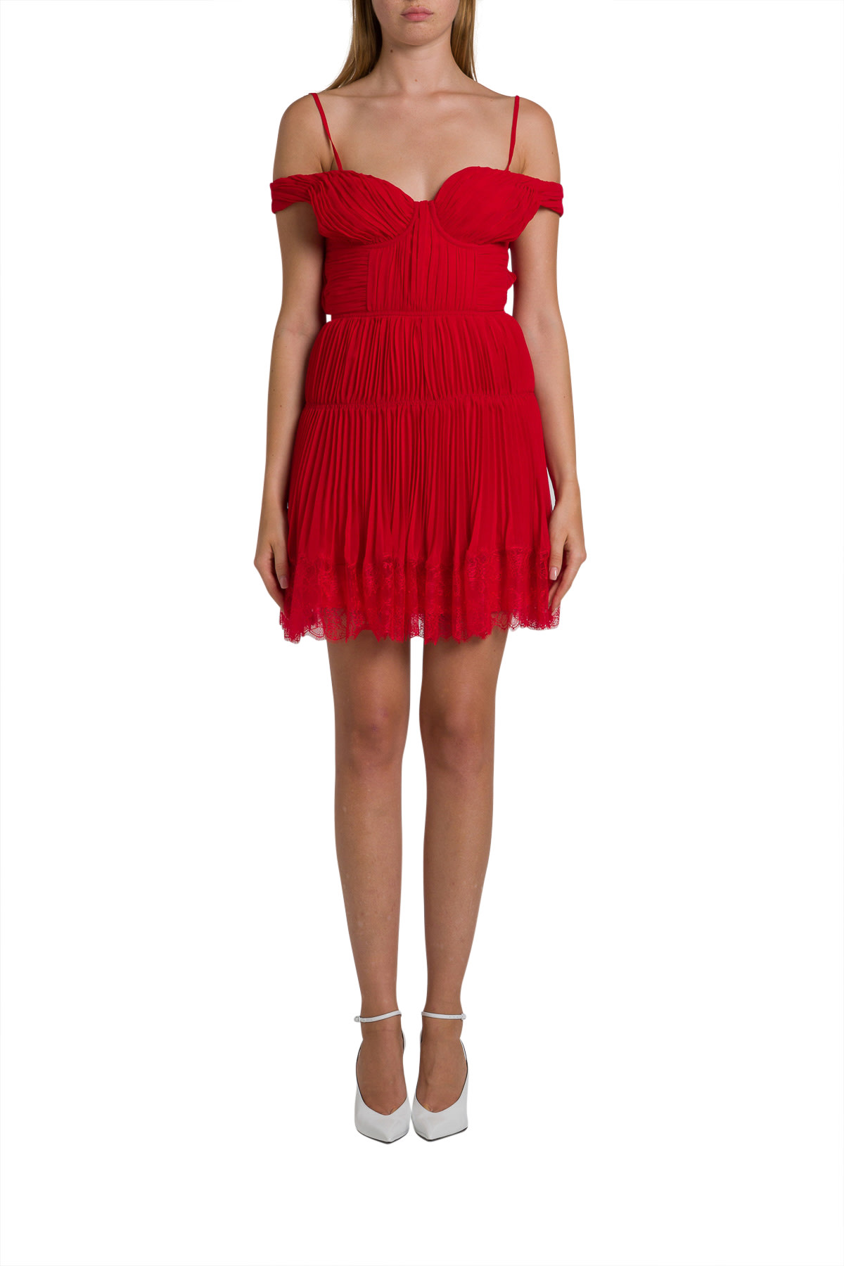 self-portrait Pleated Chiffon Short Dress