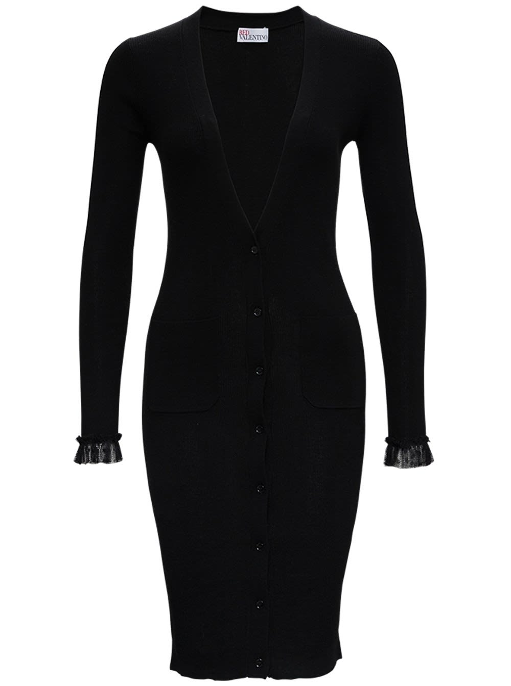 Buy Long Black Wool Dress online, shop RED Valentino with free shipping