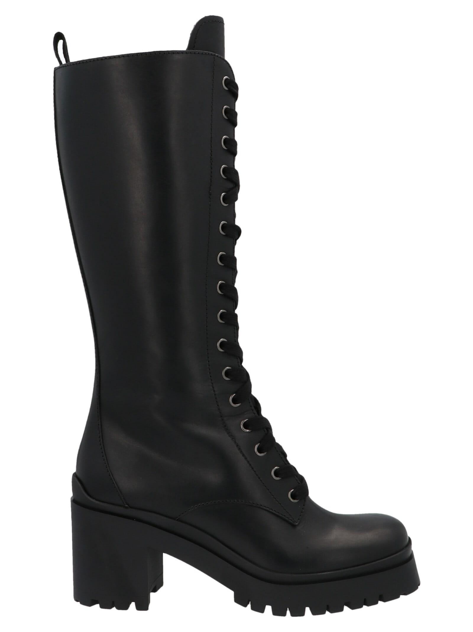 Buy Miu Miu Pull Up Leather Combat Boots online, shop Miu Miu shoes with free shipping