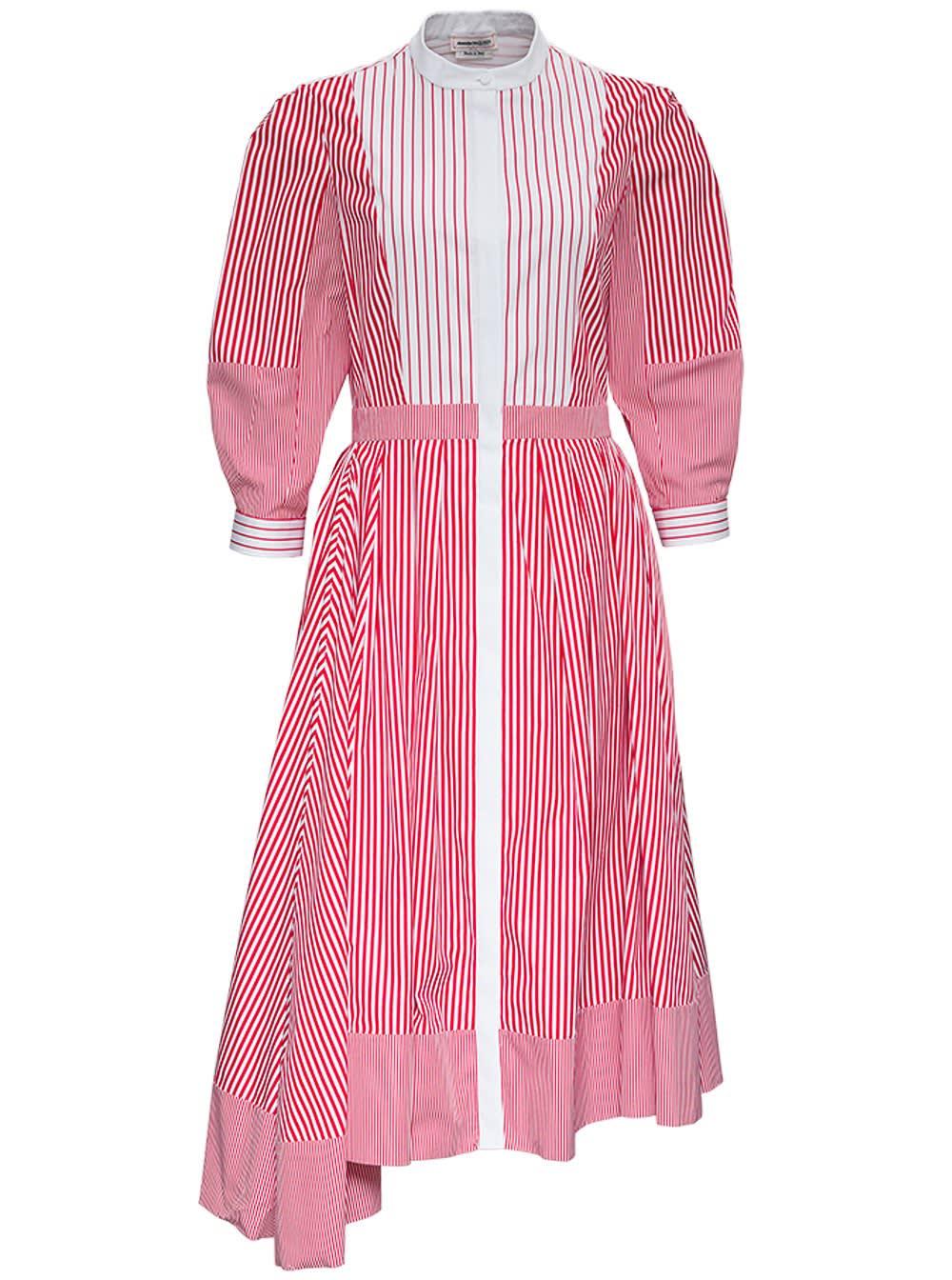 Alexander McQueen Patchwork Striped Chemisier Dress