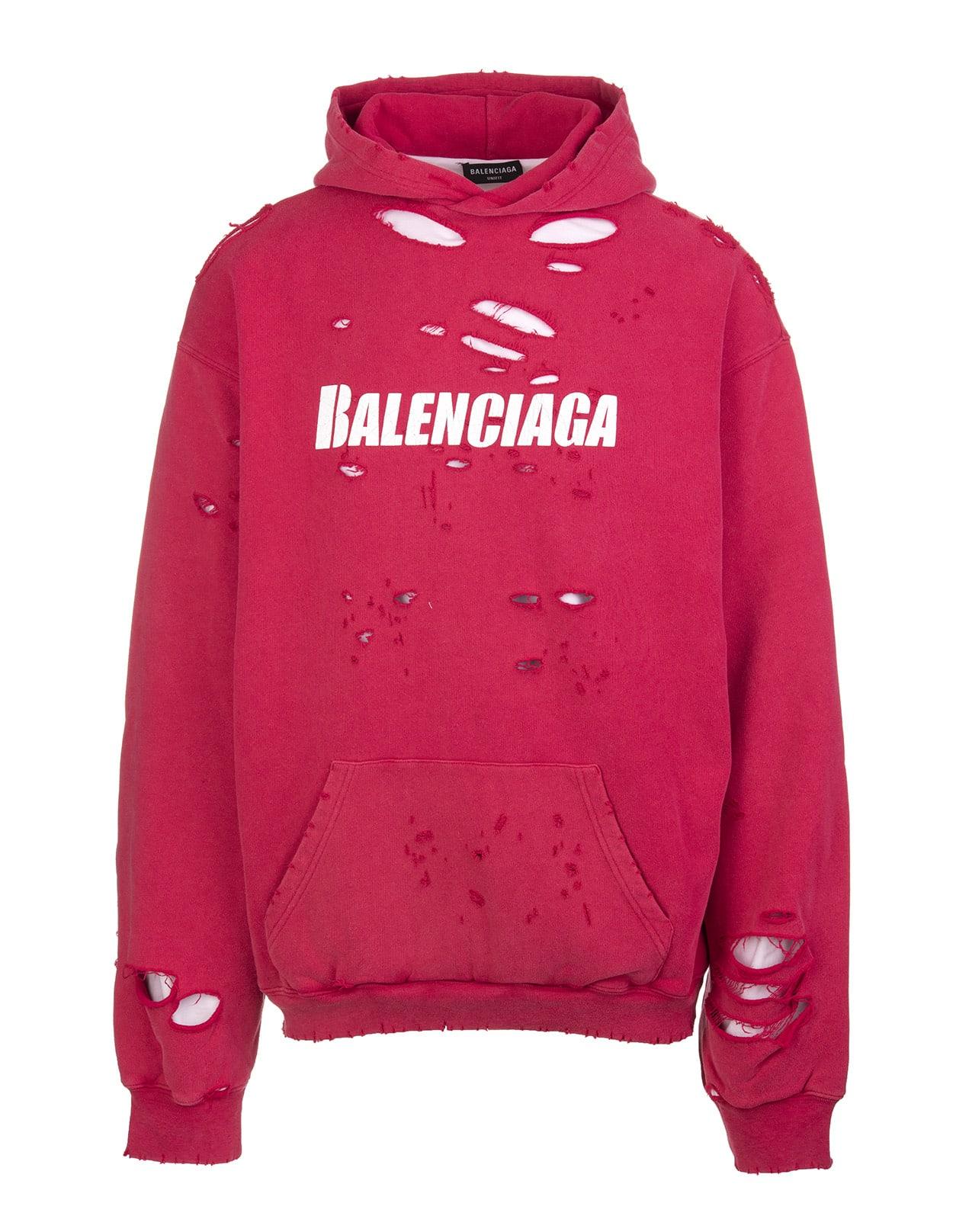Balenciaga Hoodies UNISEX RED CAPS DESTROYED HOODIE