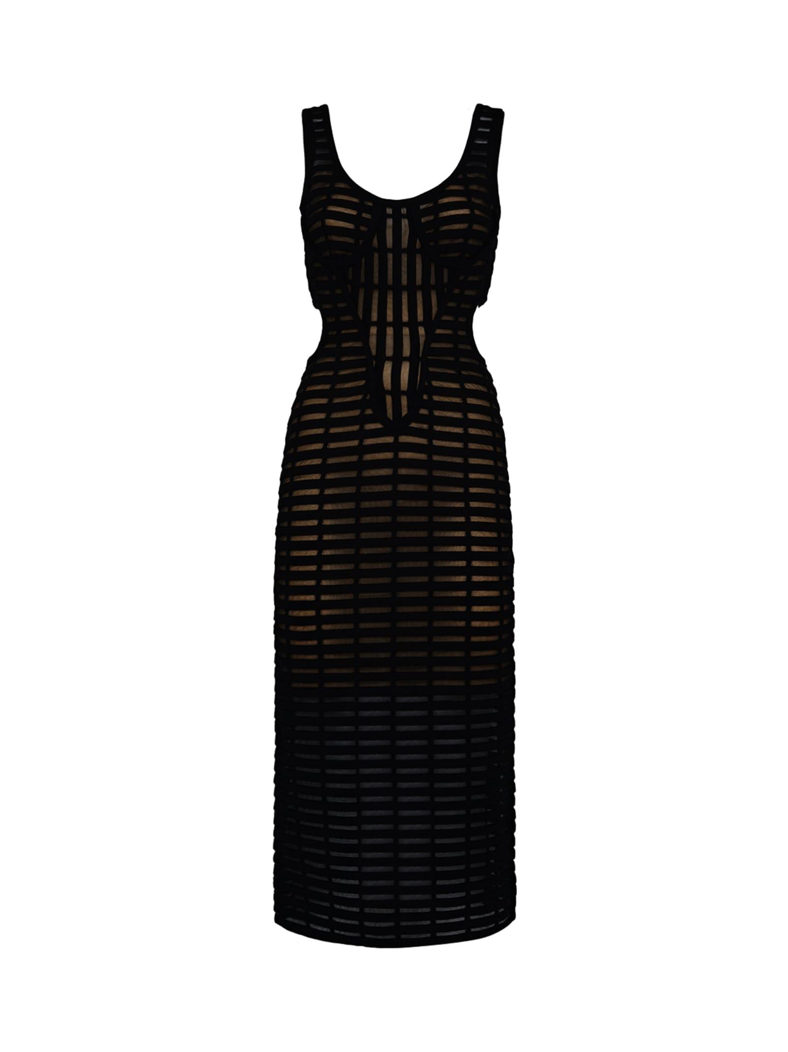 Black Open-knit Bodycon Dress