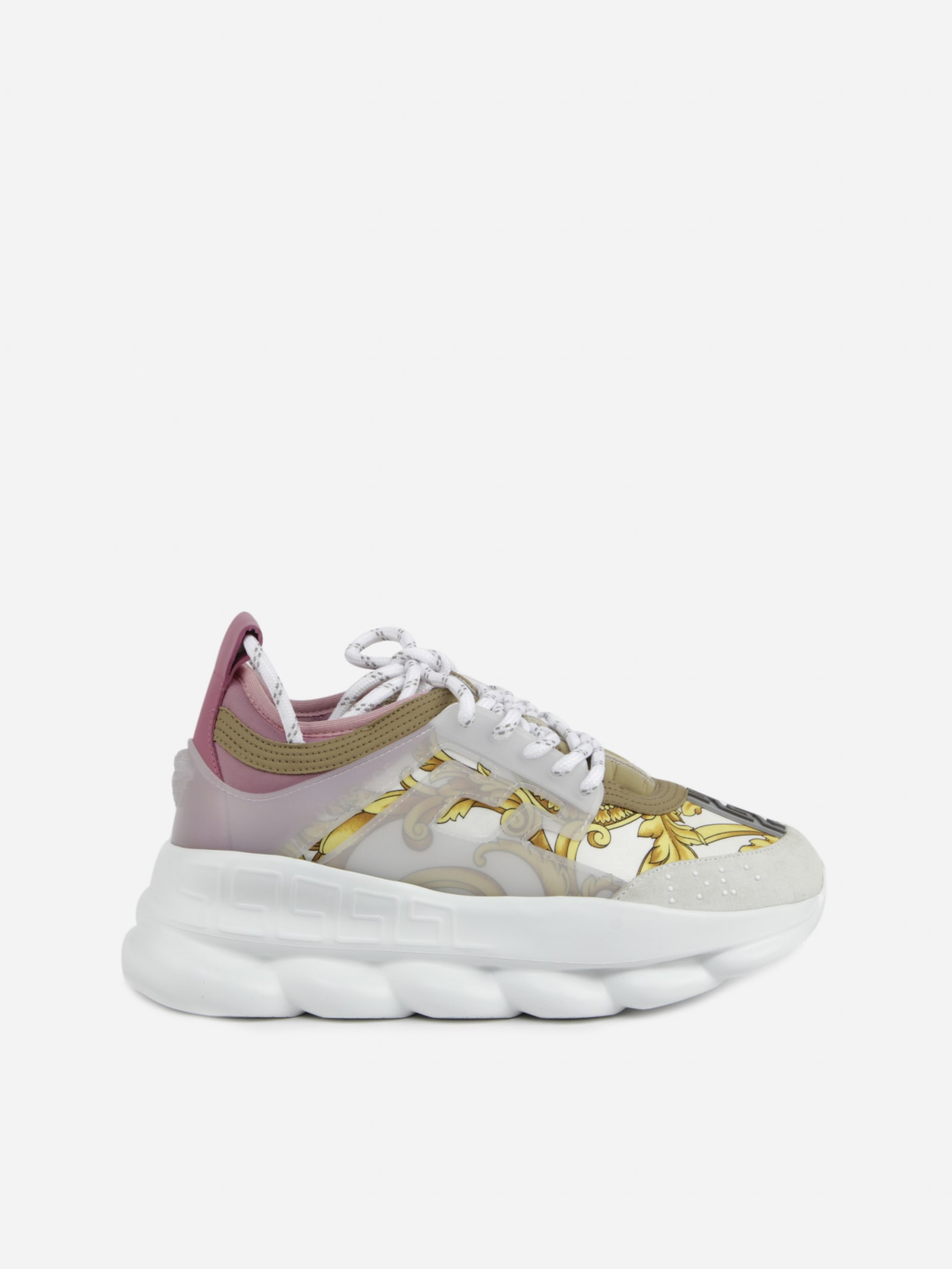 Versace CHAIN REACTION SNEAKERS WITH GOLD HIBISCUS PRINT