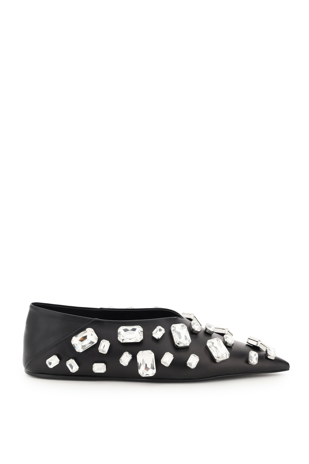 Buy Jil Sander Jewel Leather Ballet Flats online, shop Jil Sander shoes with free shipping
