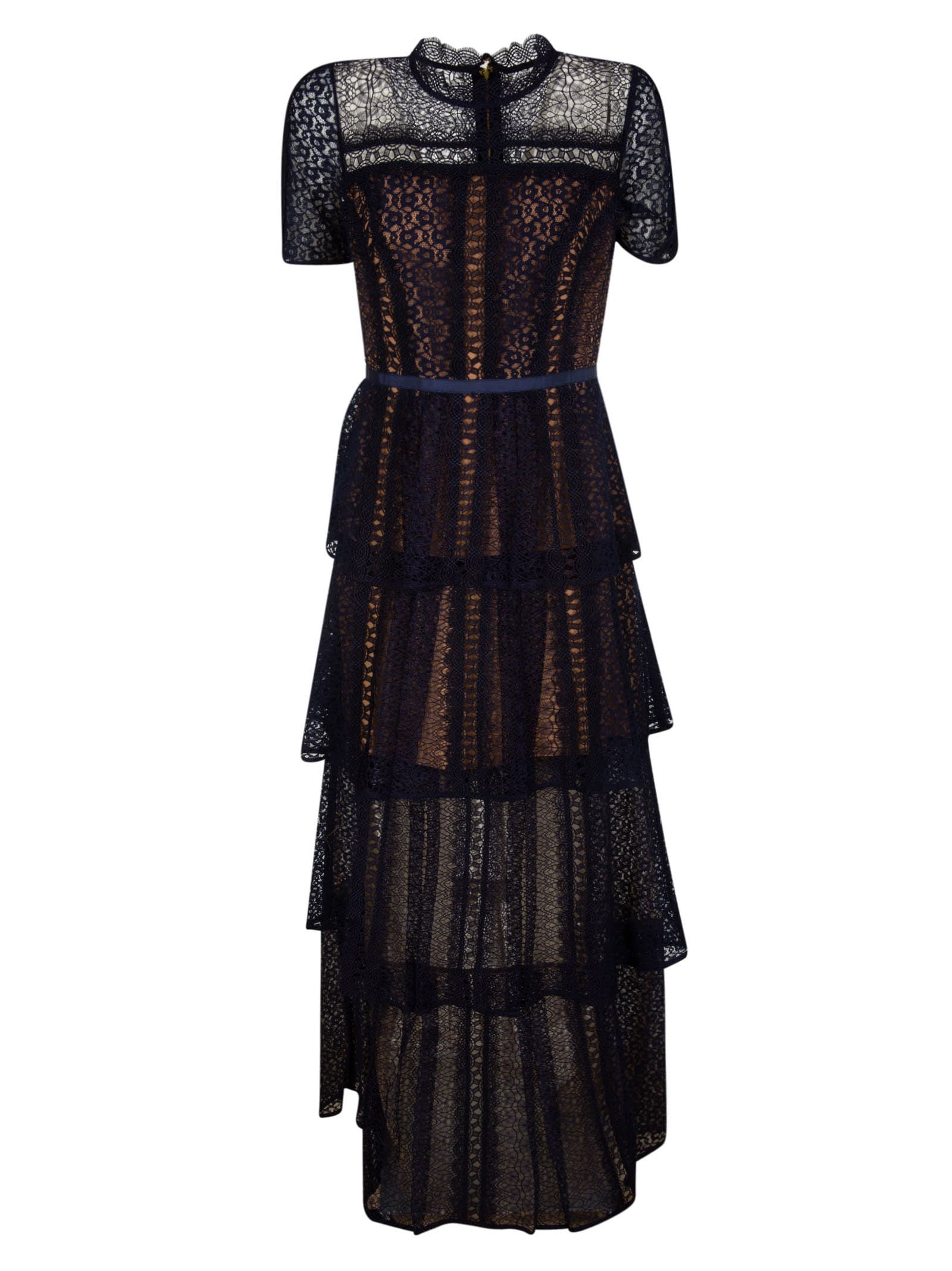 Buy self-portrait Fine Lace Maxi Tiered Dress online, shop self-portrait with free shipping