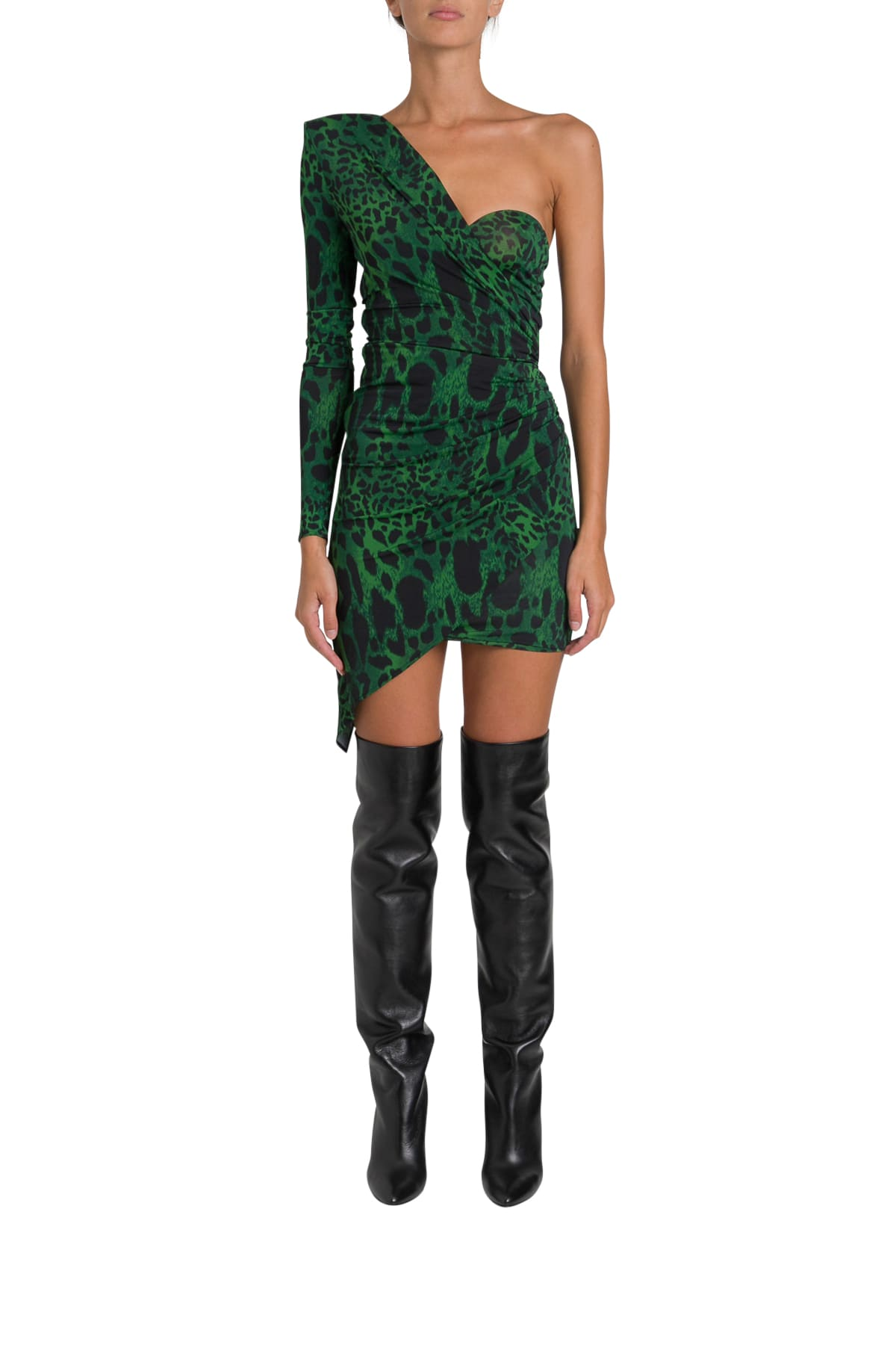 Alexandre Vauthier Leopard Asymmetric Mini Dress