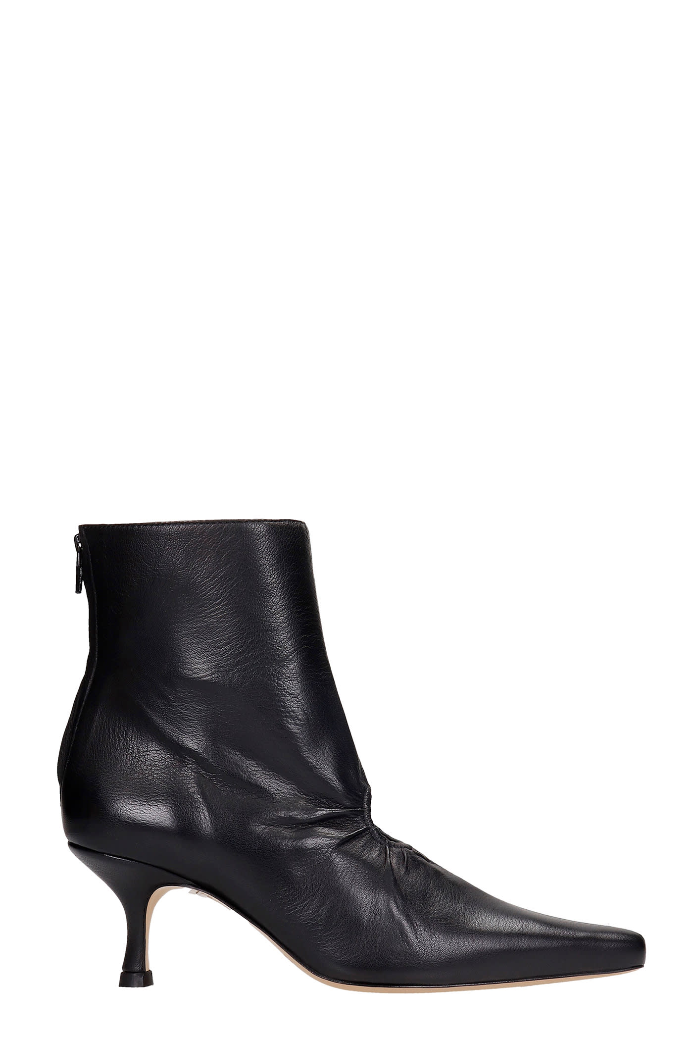 Luna High Heels Ankle Boots In Black Leather