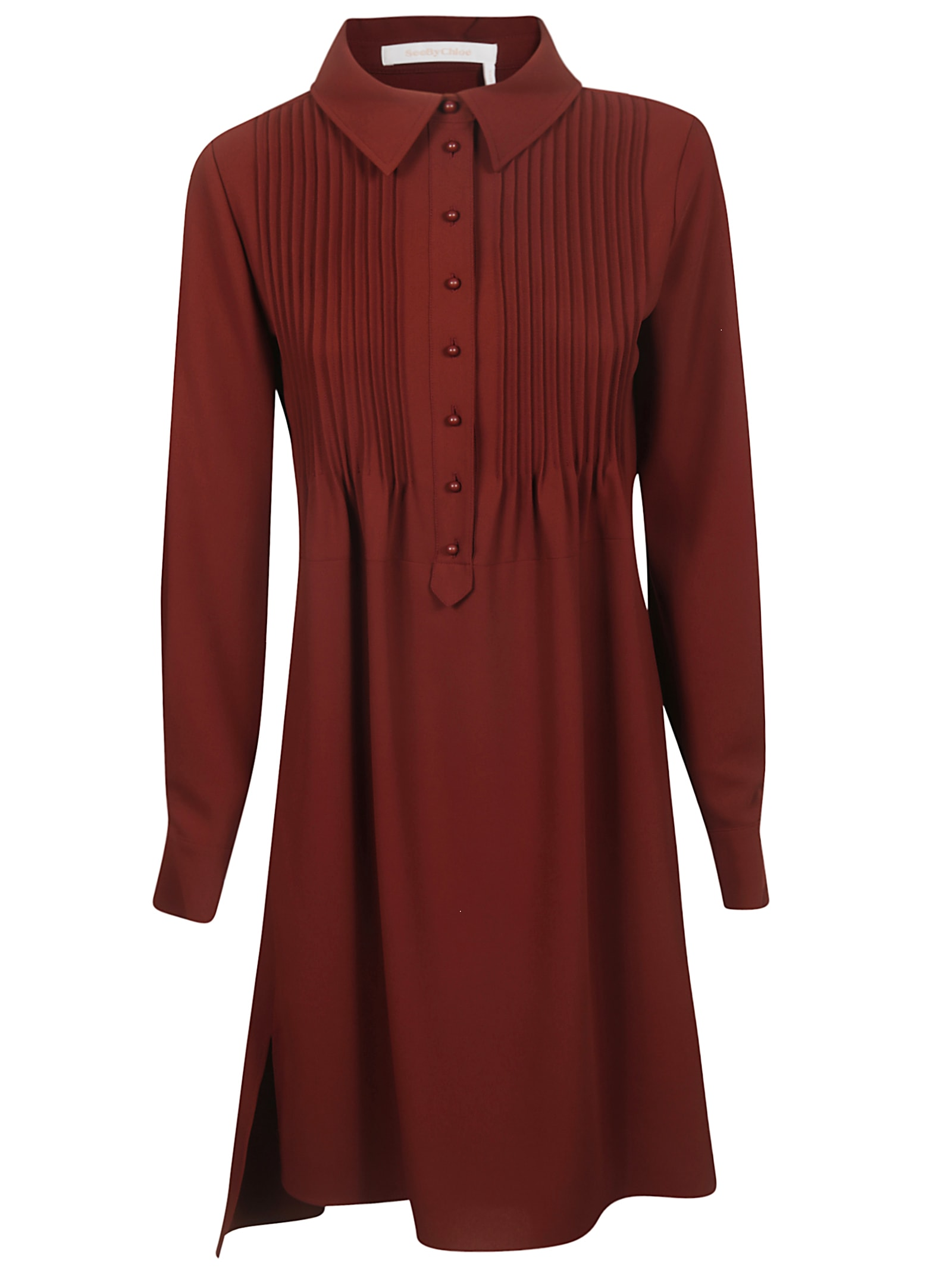 See by Chloé Long Placket Long-sleeved Dress
