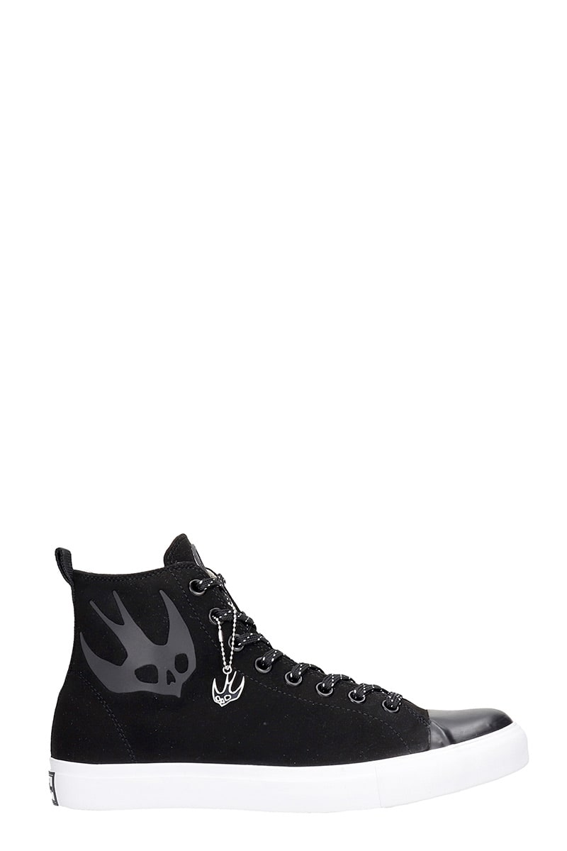 Mcq By Alexander Mcqueen Suedes ORBYT MID SNEAKERS IN BLACK SUEDE AND LEATHER