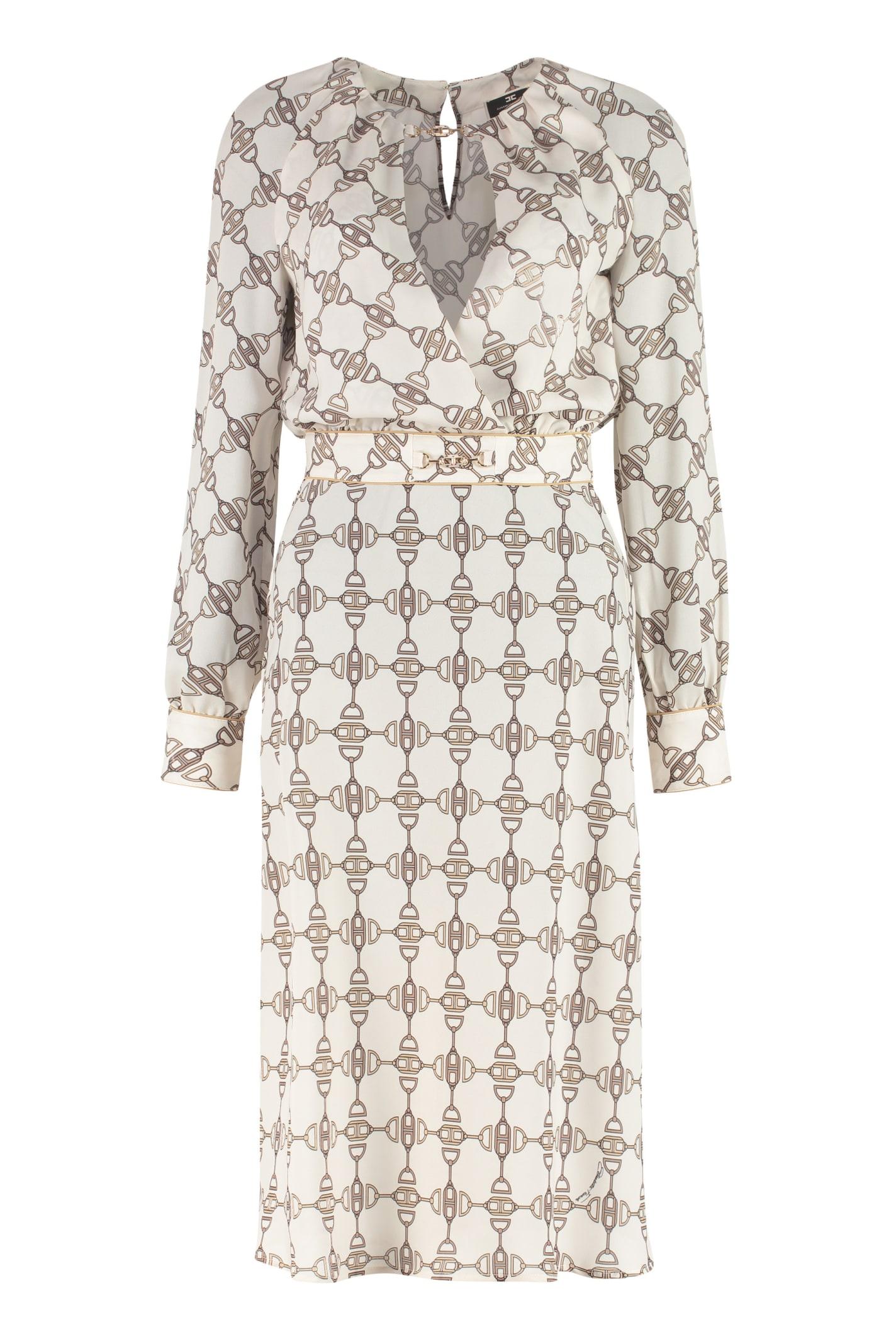 Buy Elisabetta Franchi Printed Crepe Dress online, shop Elisabetta Franchi with free shipping