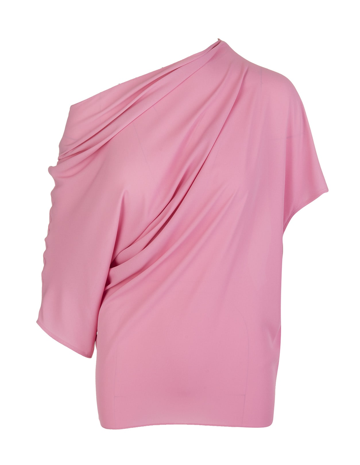 Gianluca Capannolo PINK ASYMMETRIC RUCHED TOP