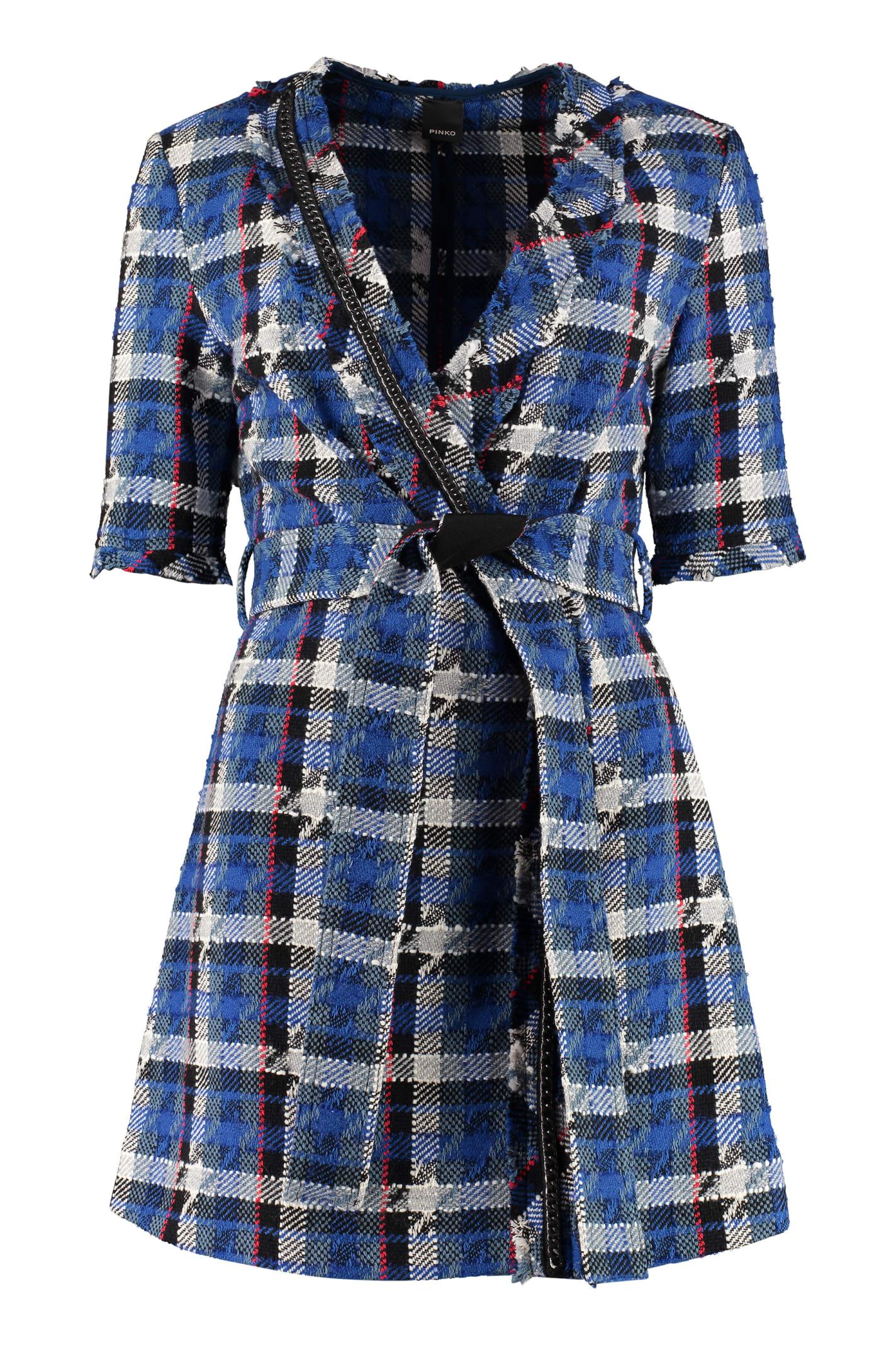 Pinko Redigere Tweed Wrap Dress