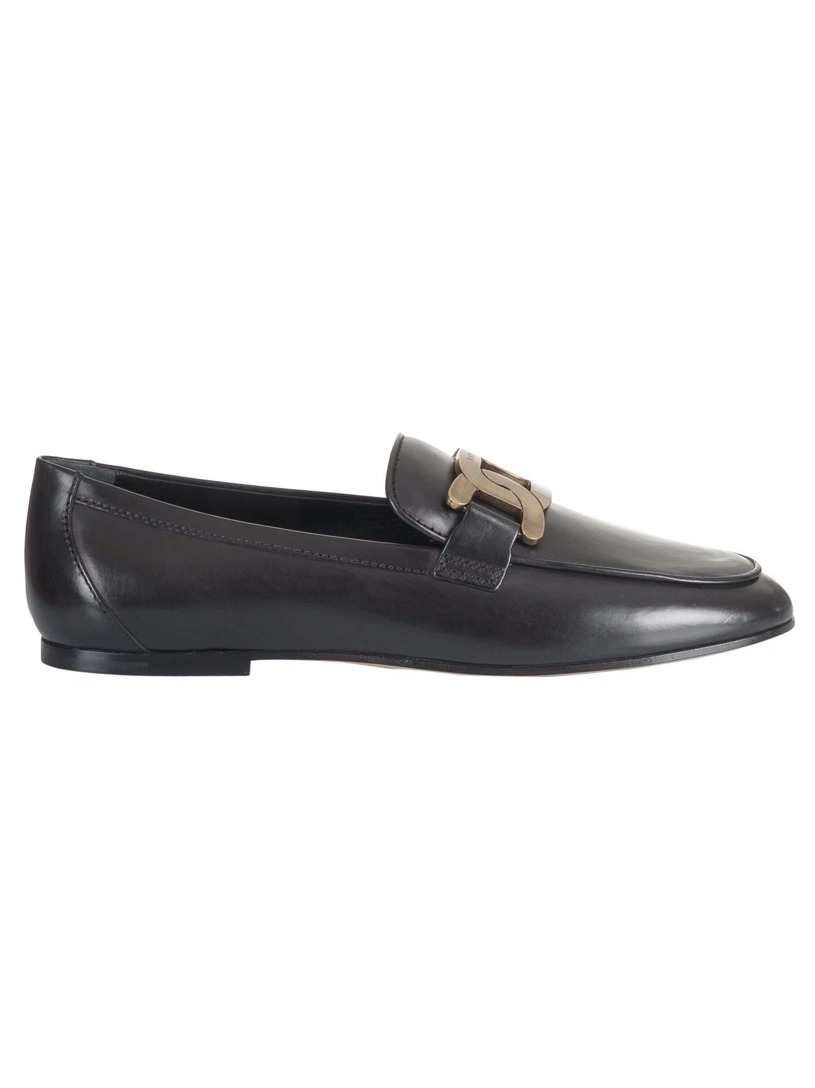 Tods Metal Logo Plaque Loafers