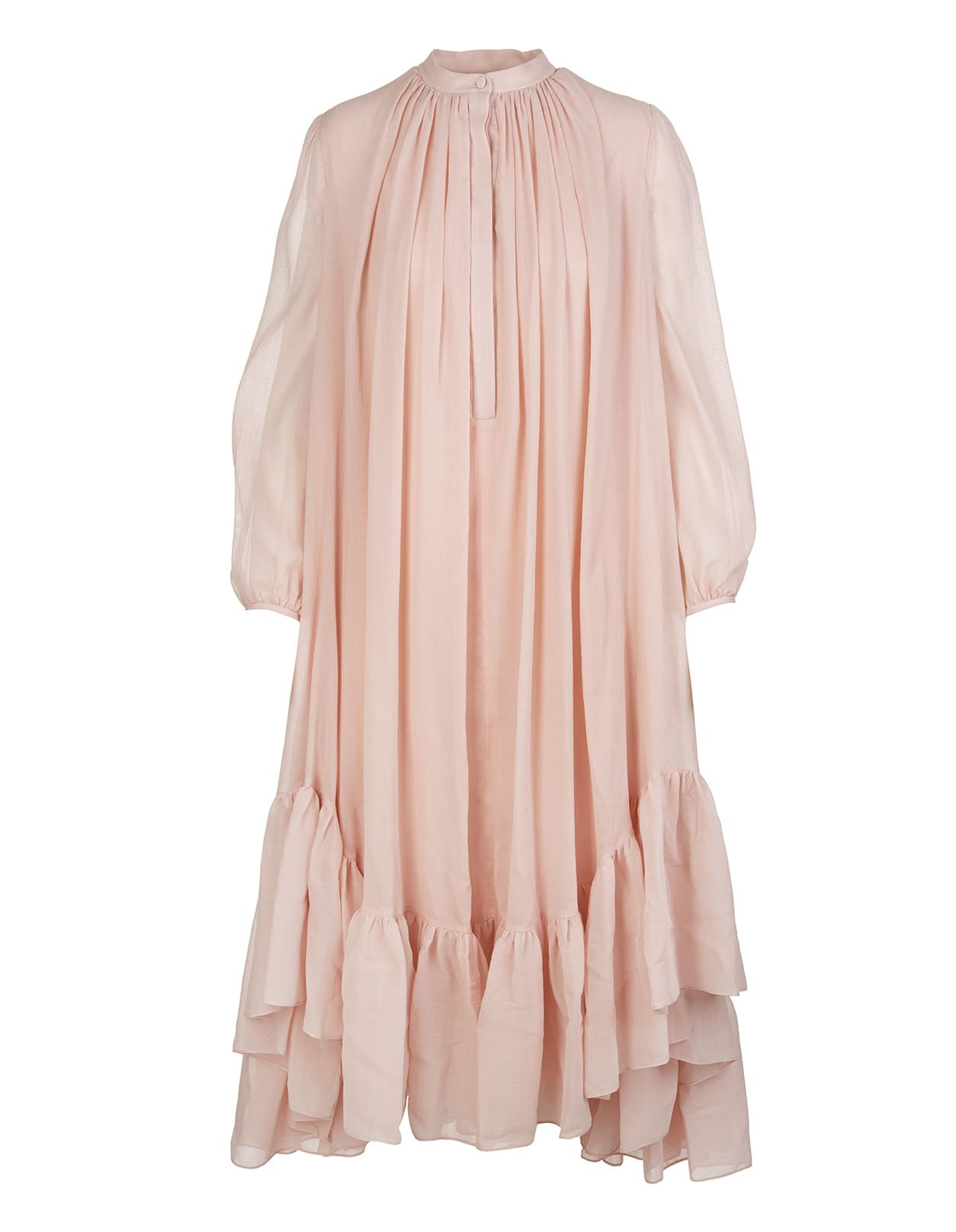 Powder Pink Silk And Cotton Faille Midi Dress