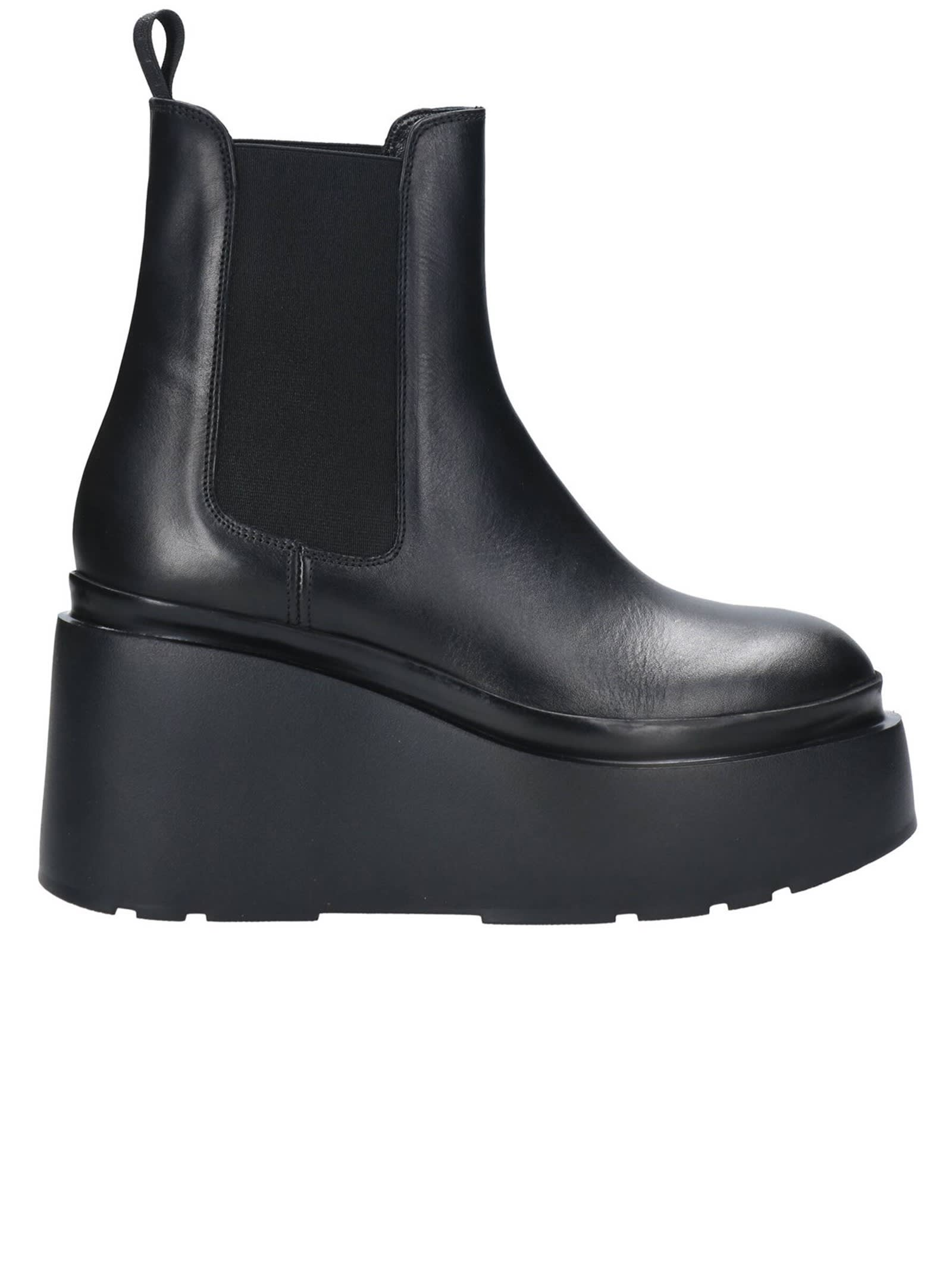 Black Leather Wedge Ankle Boots