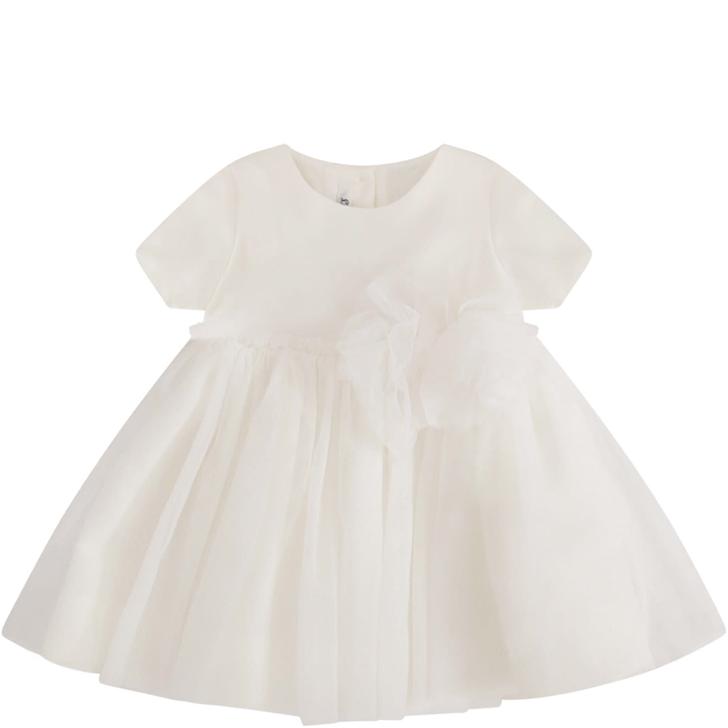 Little Bear White Dress With Tulle Bow