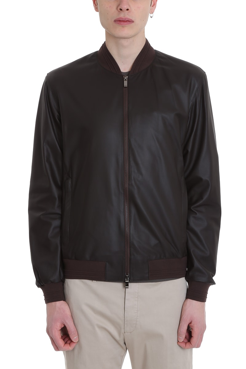 a234644e4 Z Zegna College Brown Leather Jacket