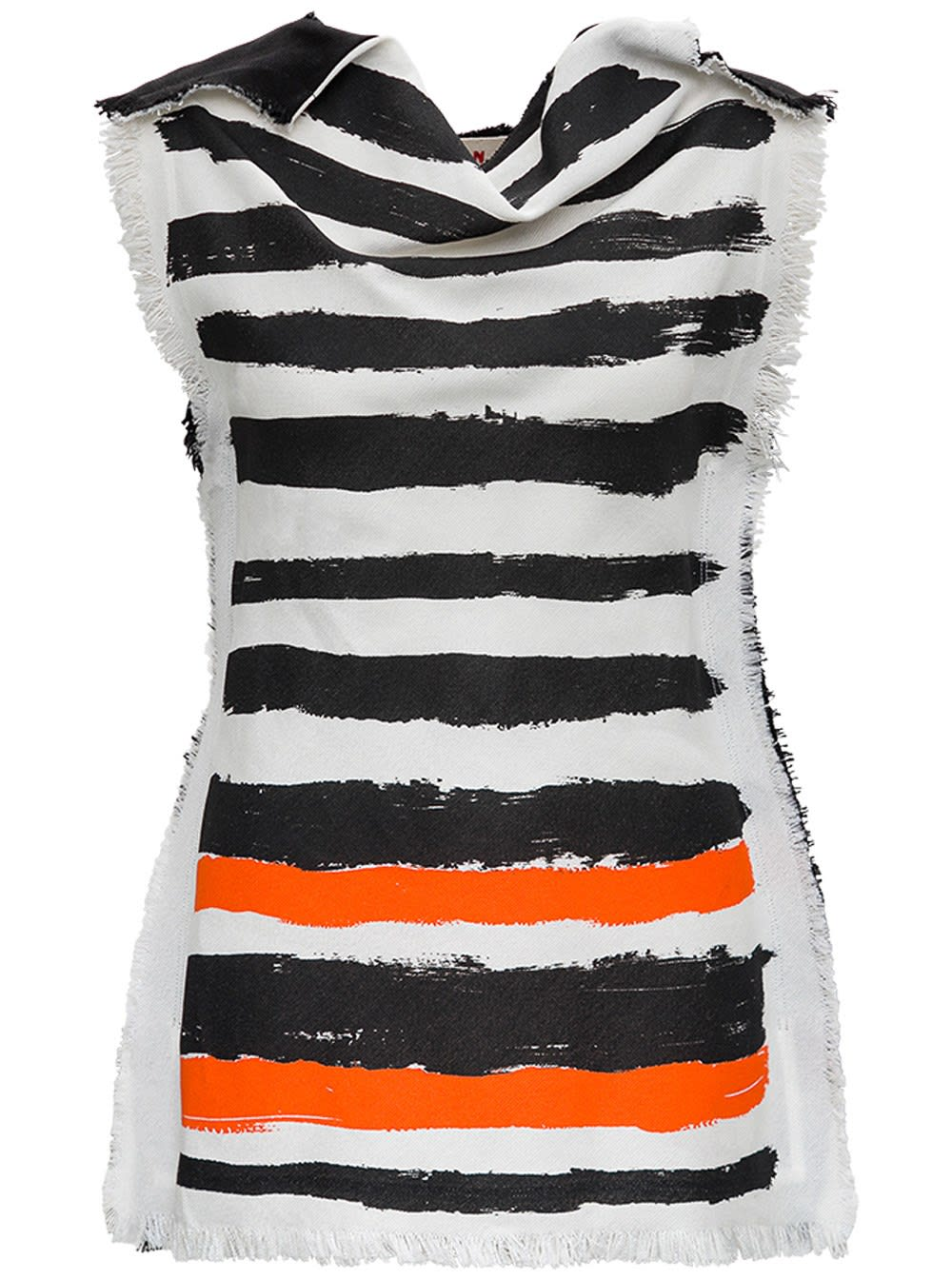 Marni STRIPED TOP WITH FRINGED DETAILS