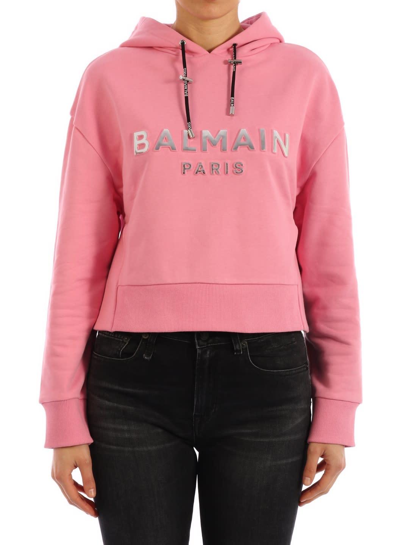 Balmain Short Sweatshirt Pink