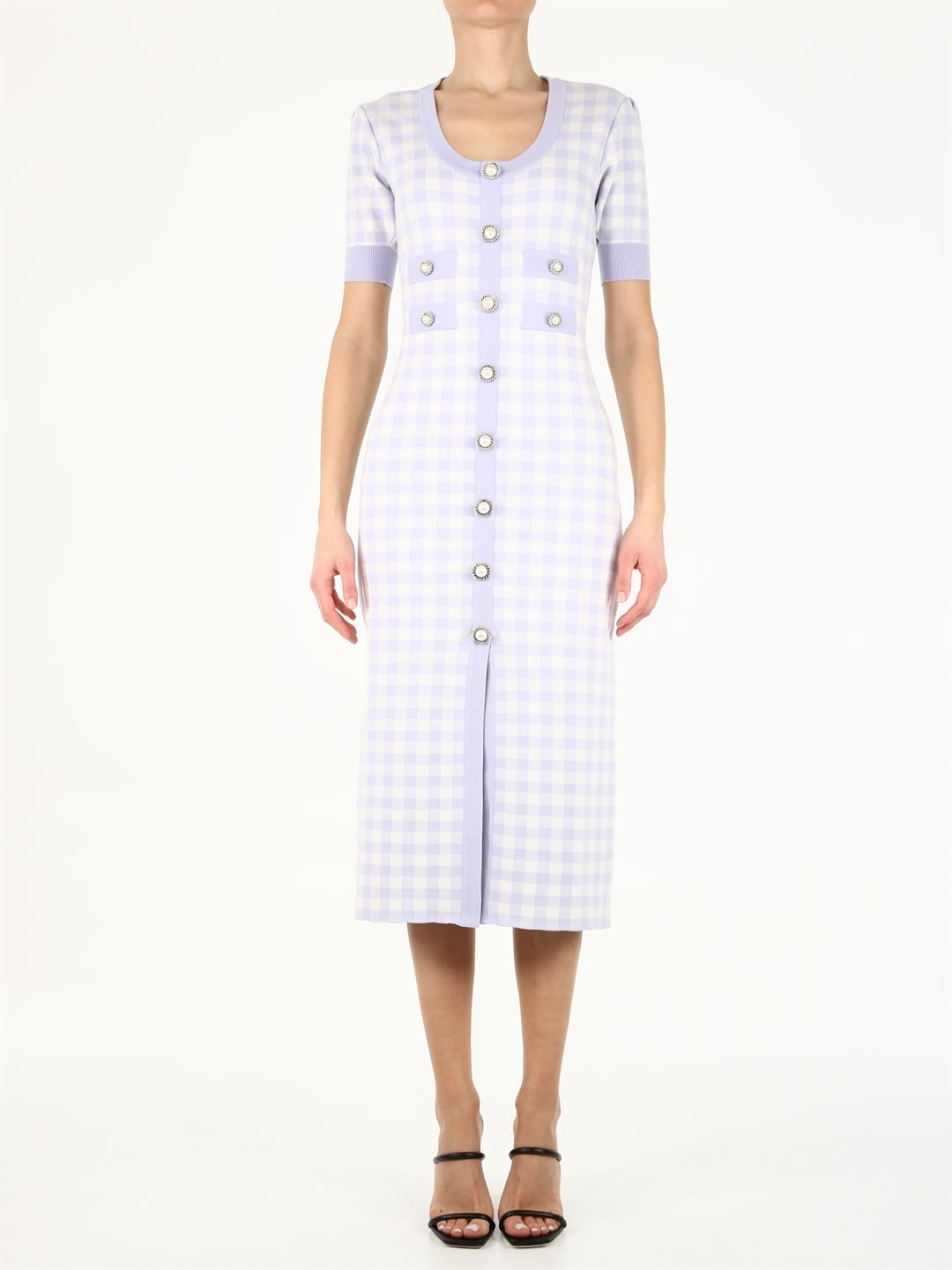 Buy Alessandra Rich Violet Vichy Midi Dress online, shop Alessandra Rich with free shipping