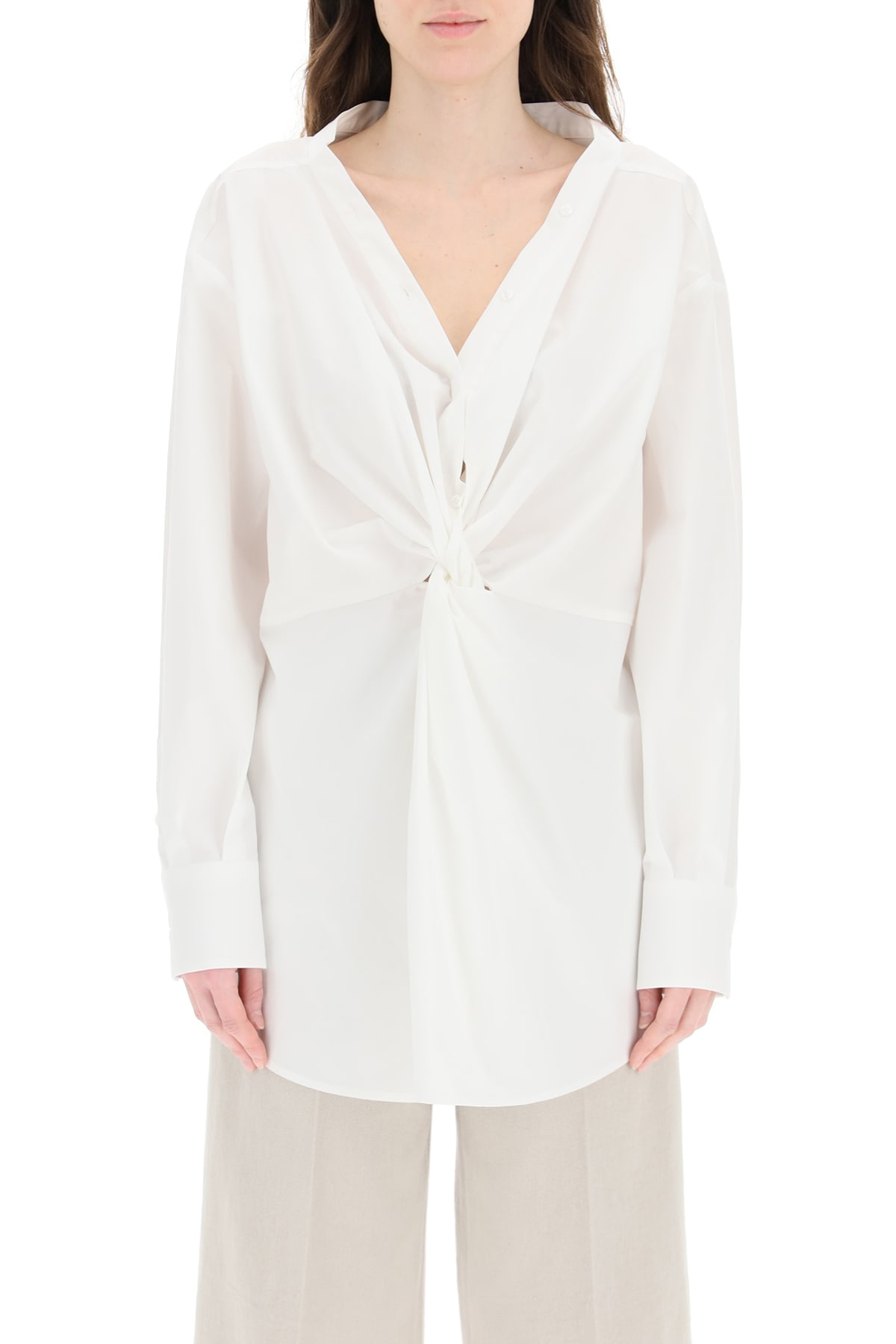Msgm OVERSIZED BLOUSE WITH KNOT