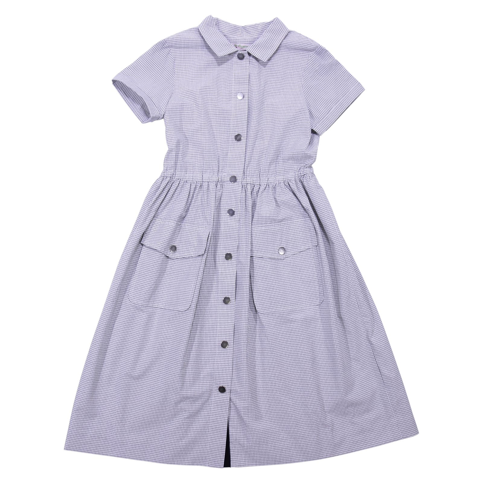 Bonpoint Vichy Check Grey Cotton Dress