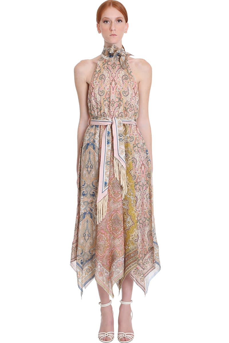 Buy Zimmermann Freja Halky Hem Dress In Multicolor Cotton online, shop Zimmermann with free shipping