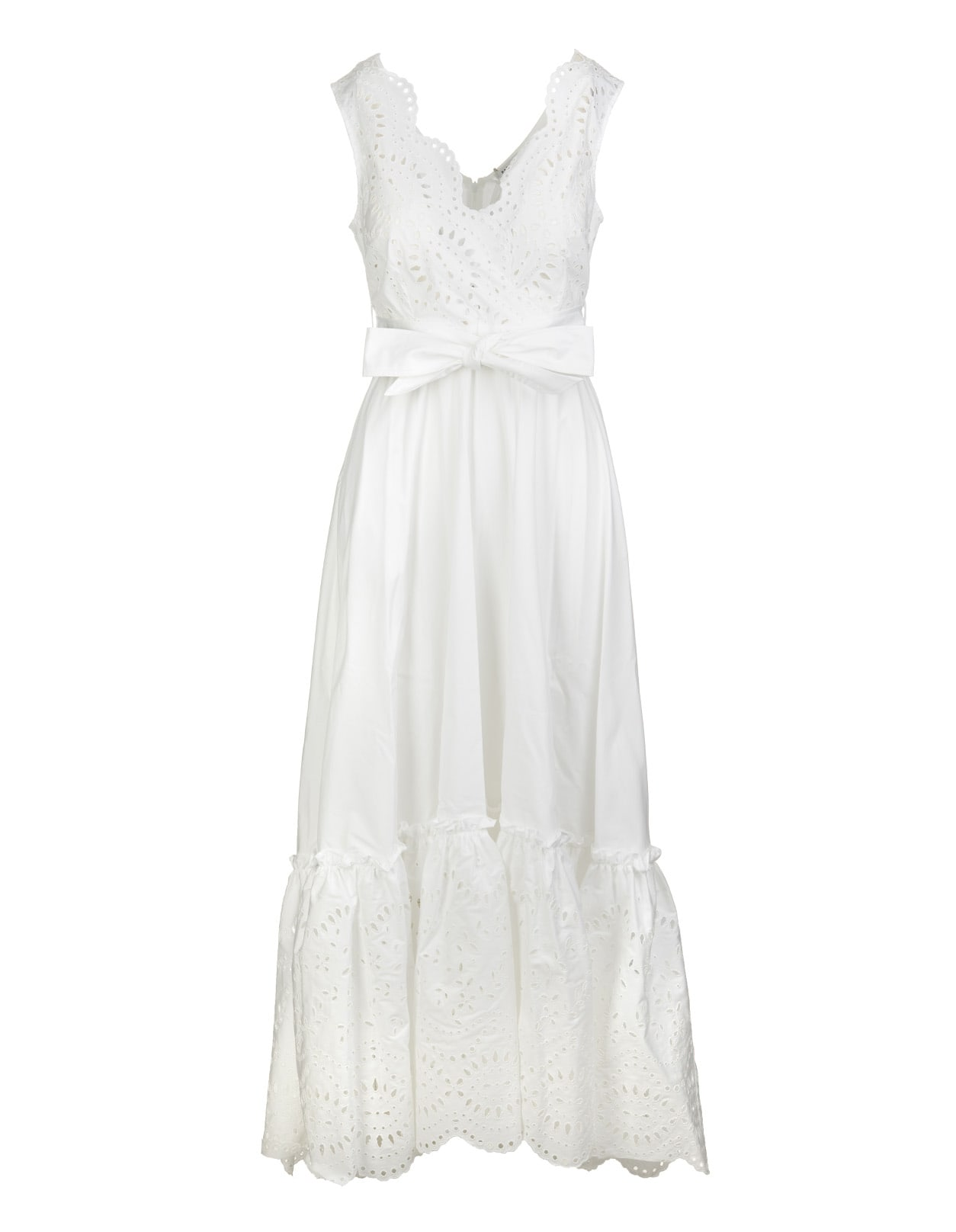 Long White Broderie-anglaise Dress