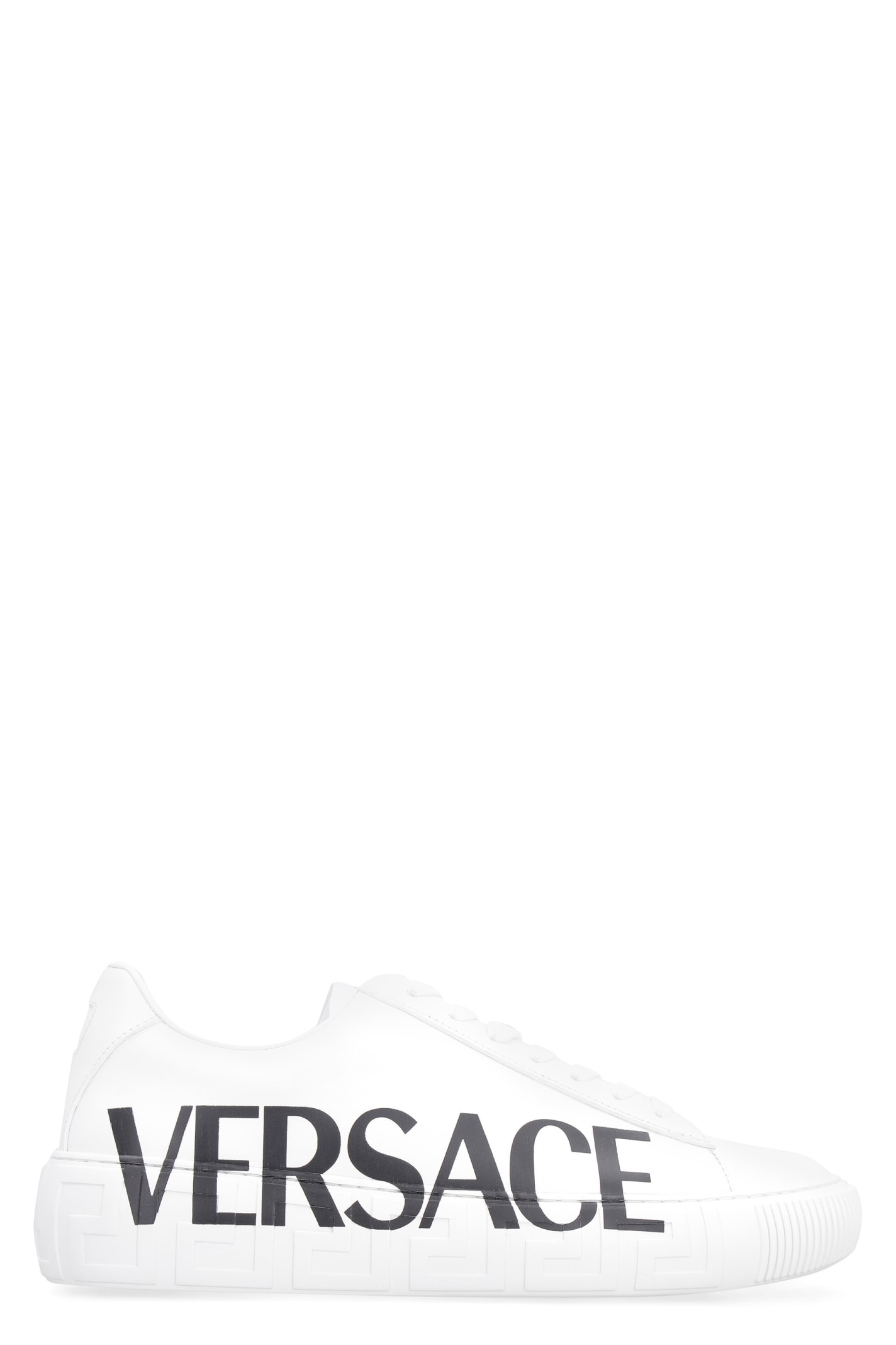 Buy Versace Leather Low-top Sneakers online, shop Versace shoes with free shipping