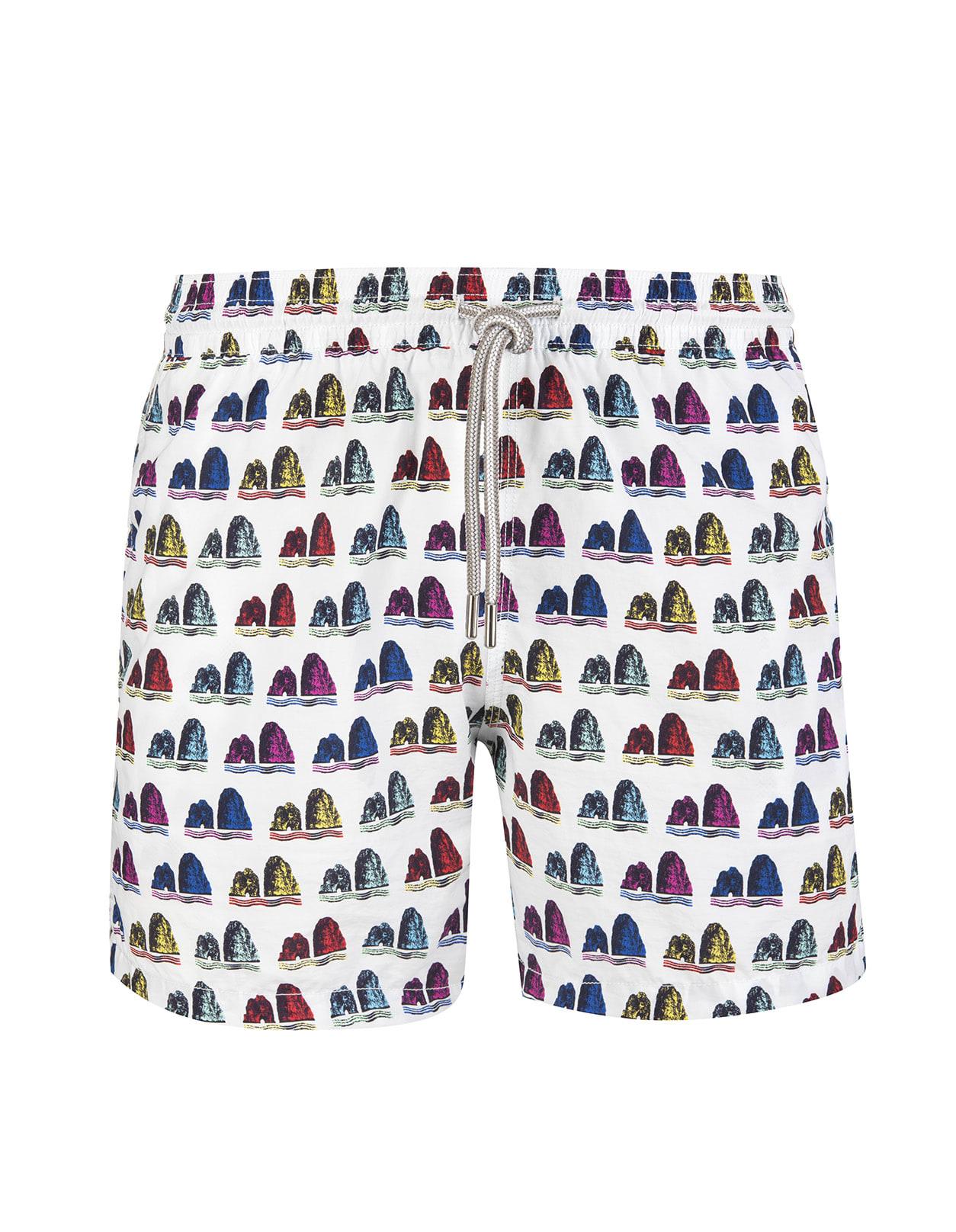 White Swimsuit With Multicolor Faraglioni Pattern