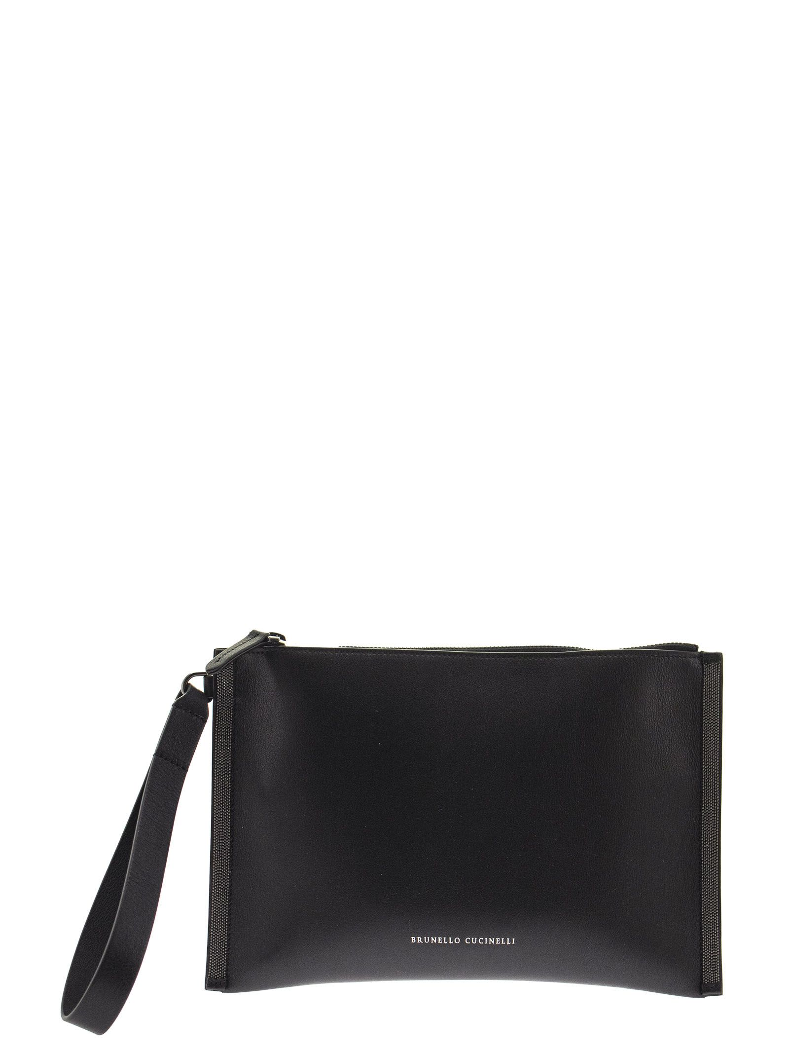 Brunello Cucinelli Leathers POLISHED CALFSKIN CLUTCH BAG WITH PRECIOUS EDGES BLACK