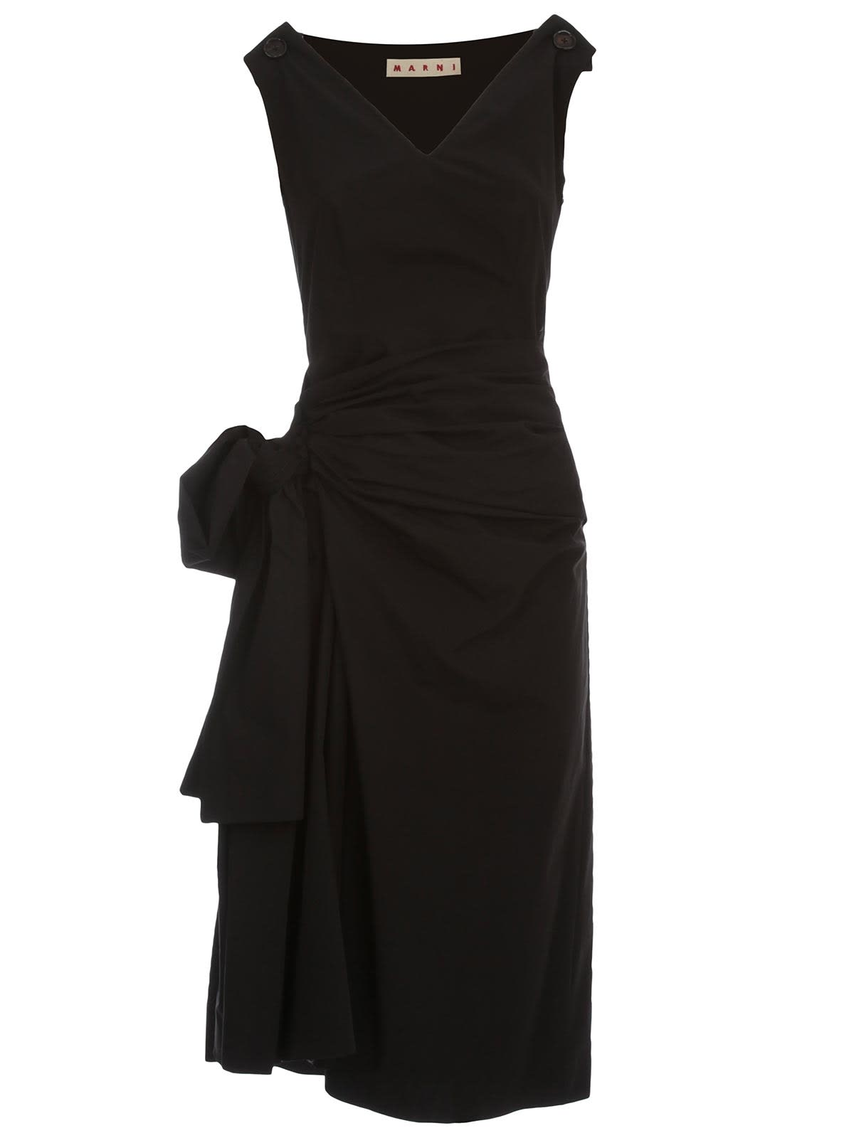 Buy Marni Dress W/s V Neck Cotton Popeline W/maxi Side Knot online, shop Marni with free shipping