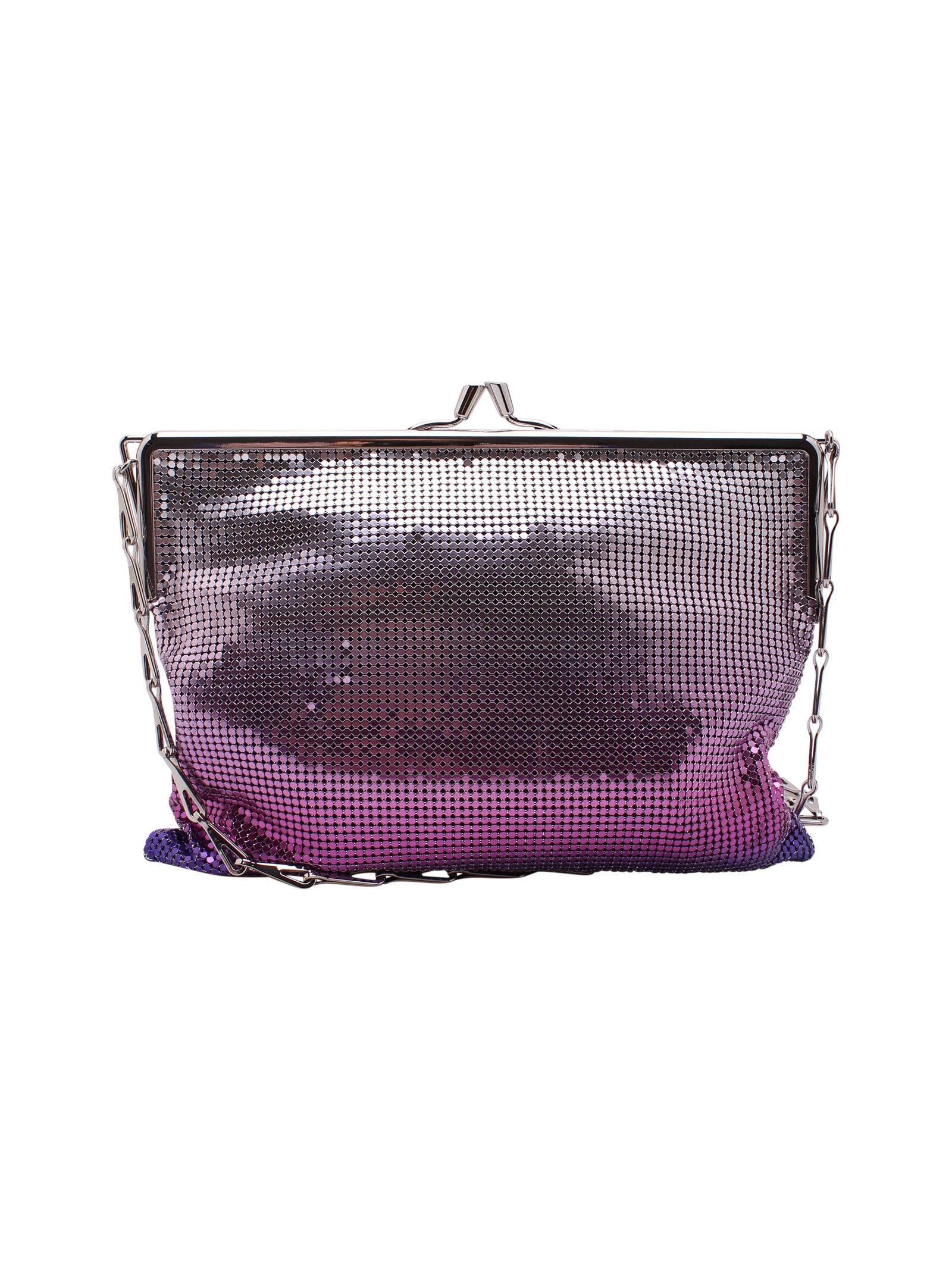 Paco Rabanne Pixel Ii Metallic Shoulder Bags In Purple Silver