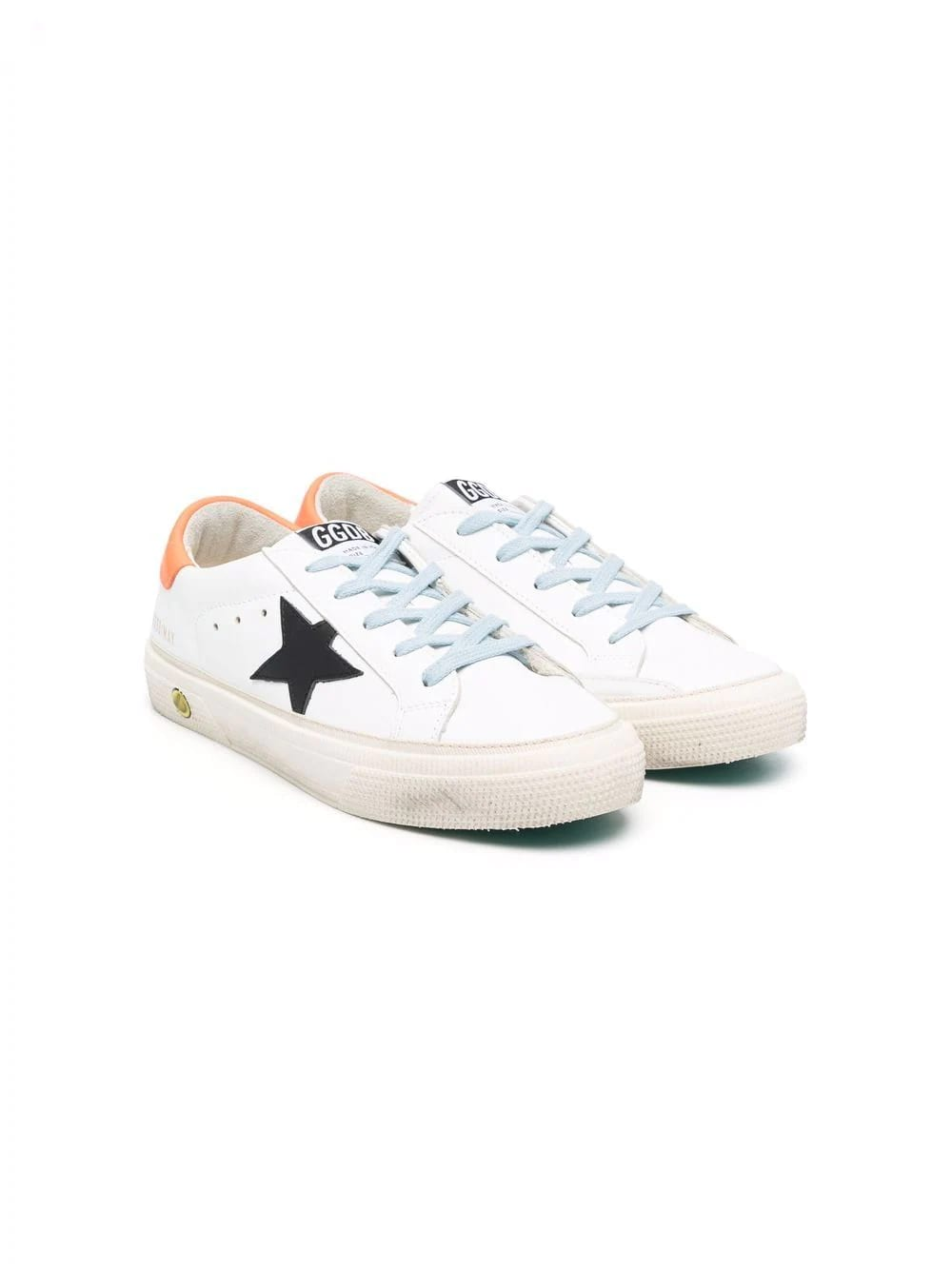 Golden Goose Junior White May Sneakers With Black Star And Orange Spoiler