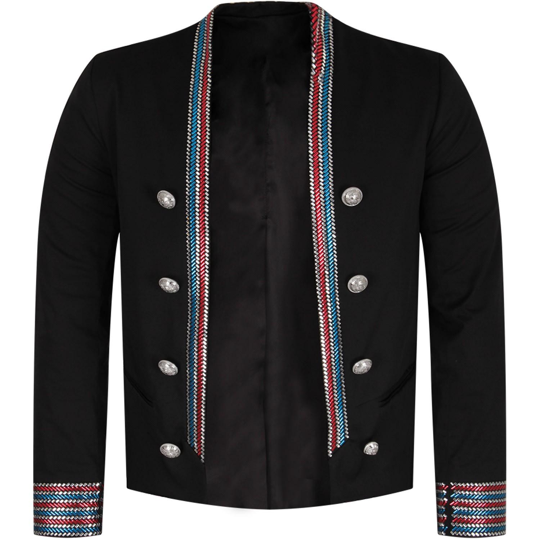 Balmain Kids' Black Girl Iconic Jacket With Colorful Stripes