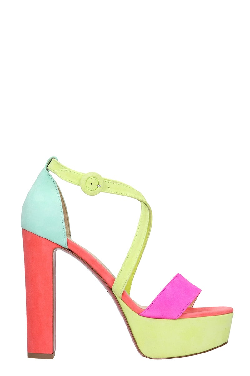 Christian Louboutin LOUBI BEE SANDALS IN MULTICOLOR SUEDE