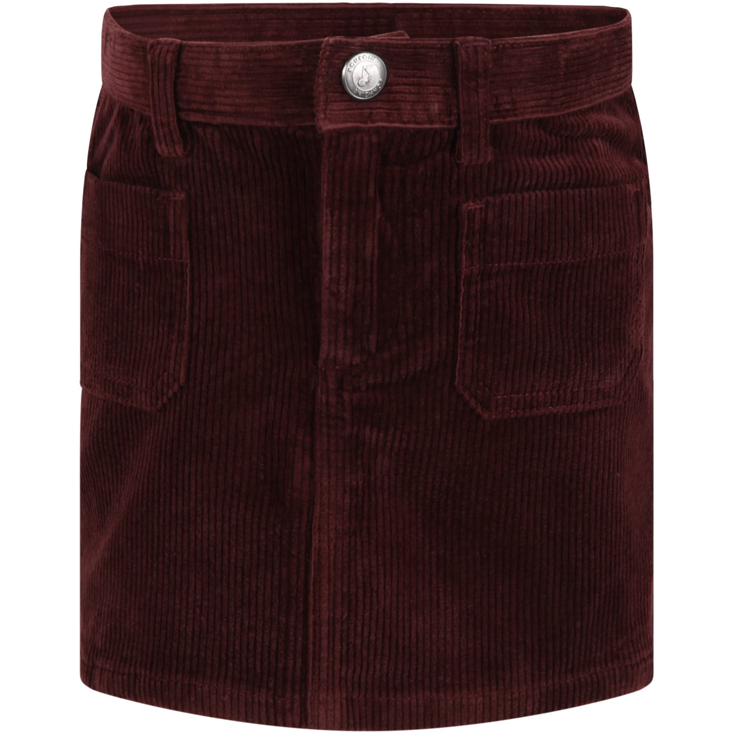 Burgundy Skirt For Girl With Logo Patch