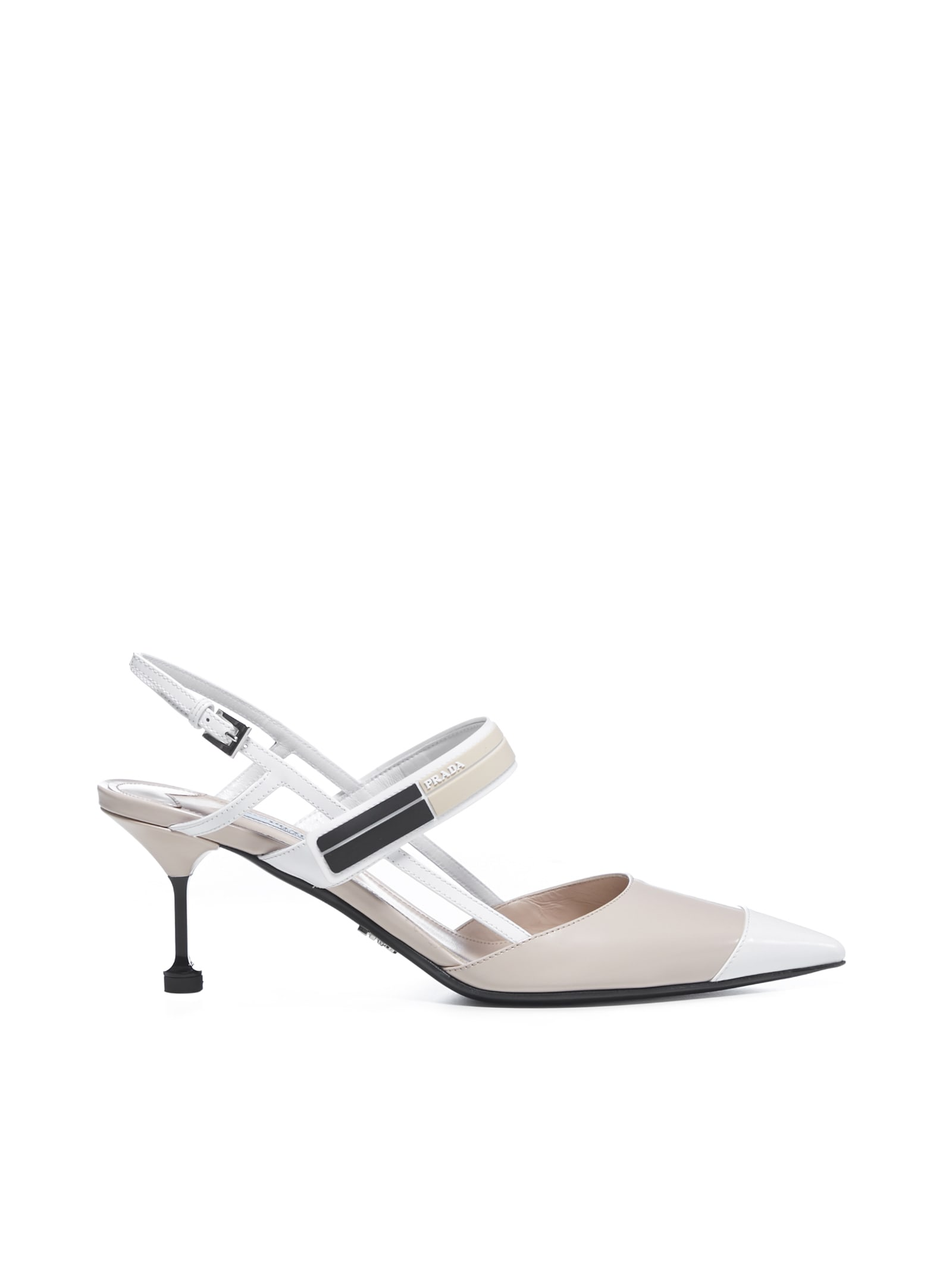 Prada Sling Back 6.5 High-heeled Shoe In Cipria Bianco
