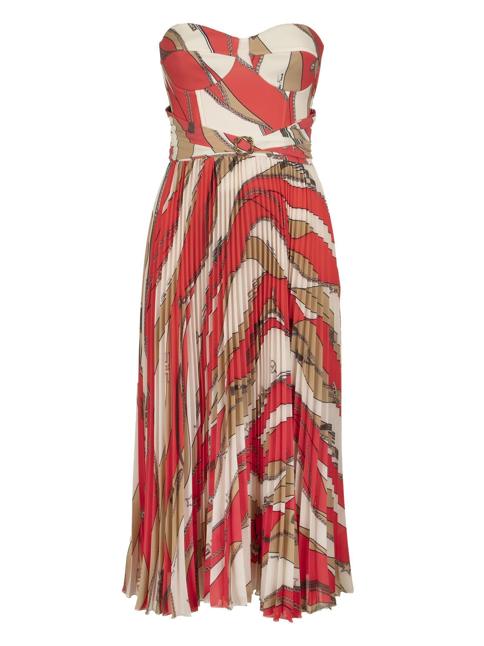 Buy Elisabetta Franchi Celyn B. Calf-length Dress With Pleated Skirt online, shop Elisabetta Franchi Celyn B. with free shipping