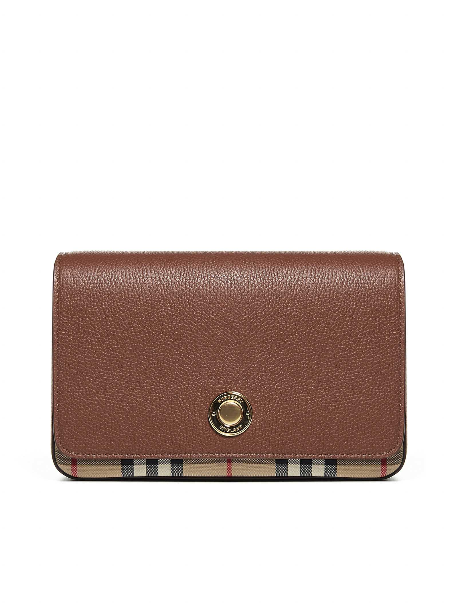 Burberry Hampshire Leather And Vintage Check Fabric Bag