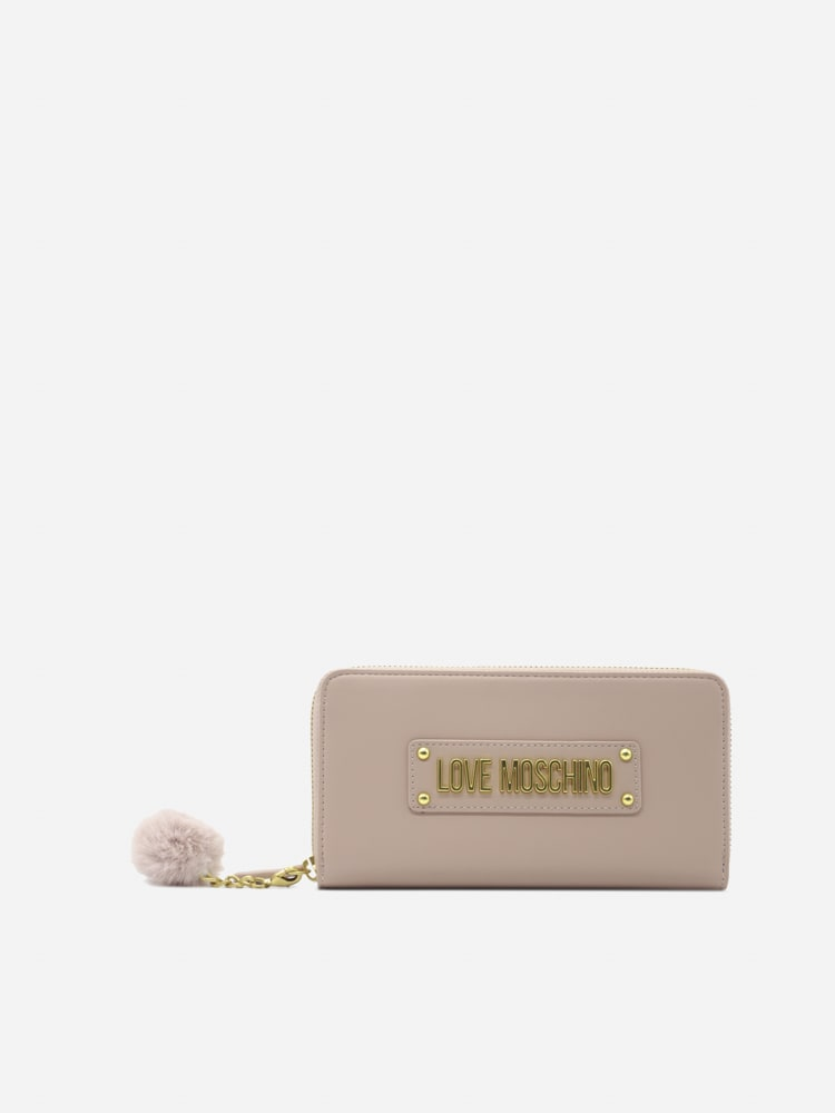Love Moschino Wallet With Logo Lettering And Eco-fur Detail In Pink