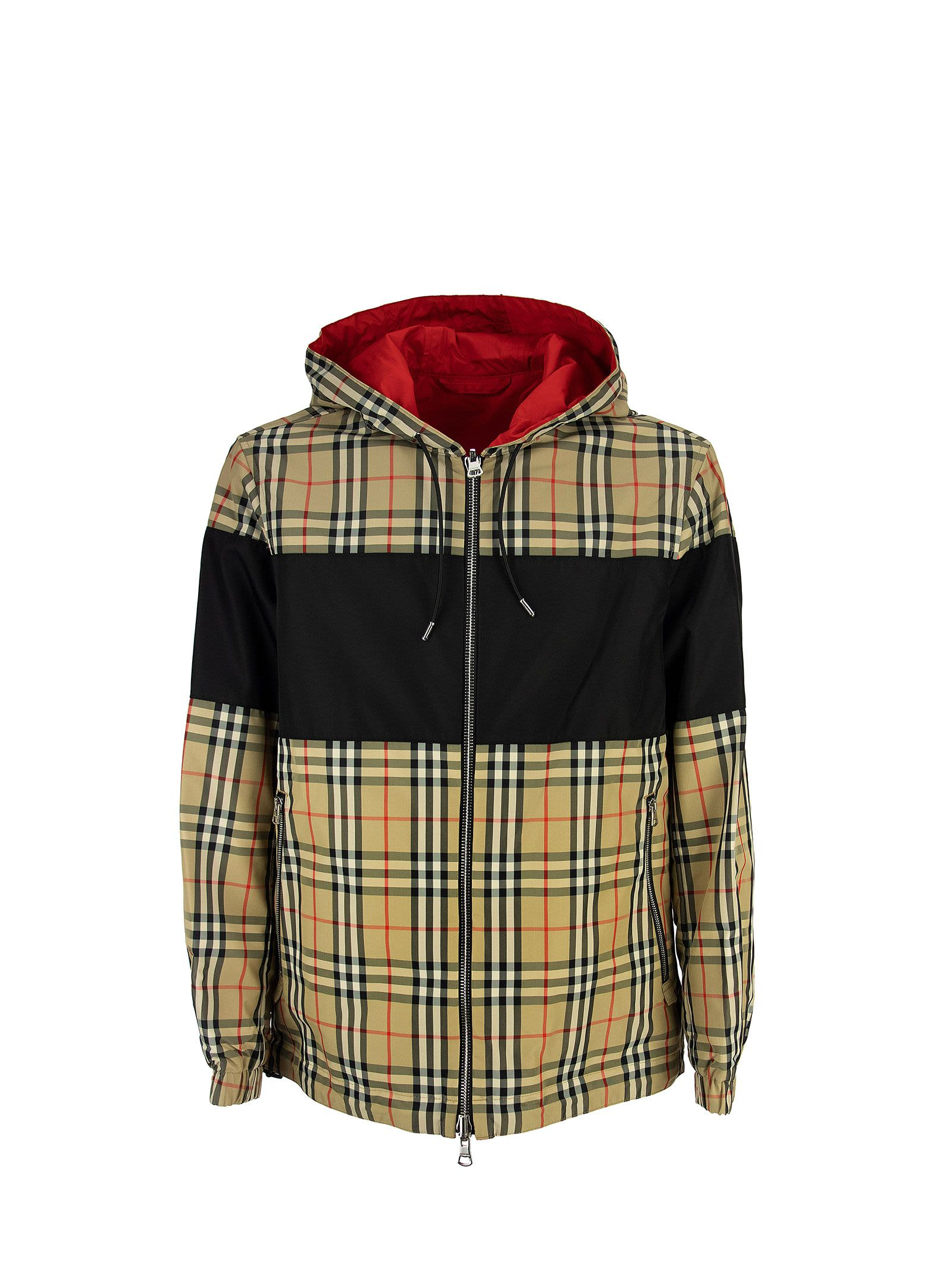 Burberry CONTRAST PANEL CHECK COTTON REVERSIBLE JACKET SHROPSHIRE