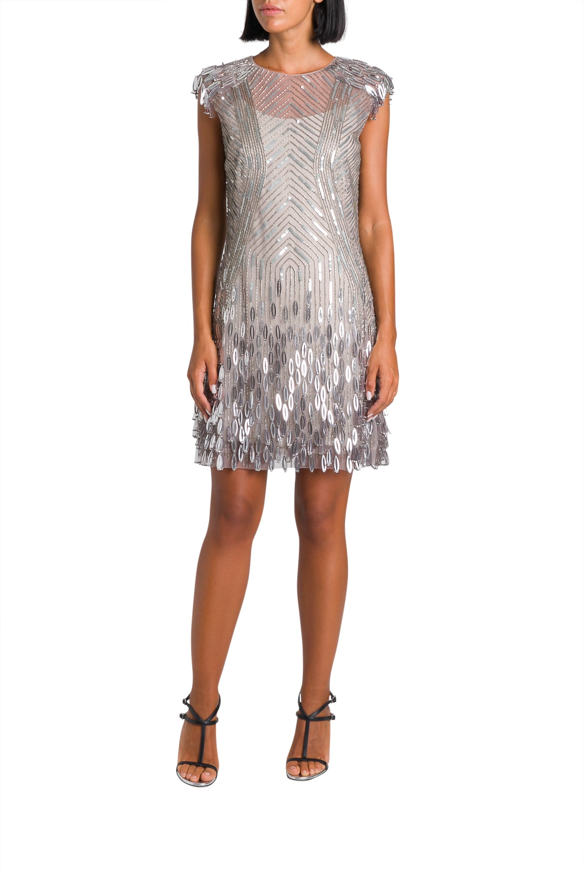Alberta Ferretti Tulle Short Dress With Metallic Trimmings