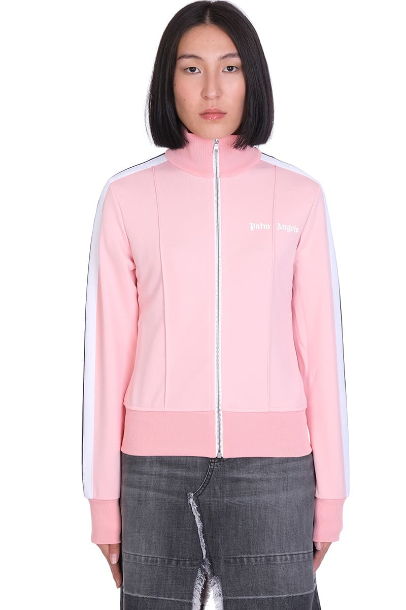 Palm Angels FITED TRACK JKT SWEATSHIRT IN ROSE-PINK POLYESTER