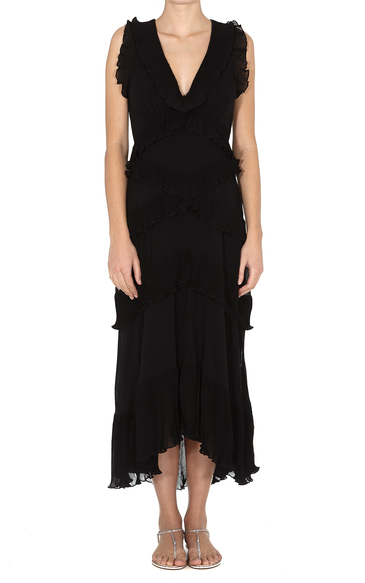 Buy Zimmermann Pleated Frill Midi Dress online, shop Zimmermann with free shipping