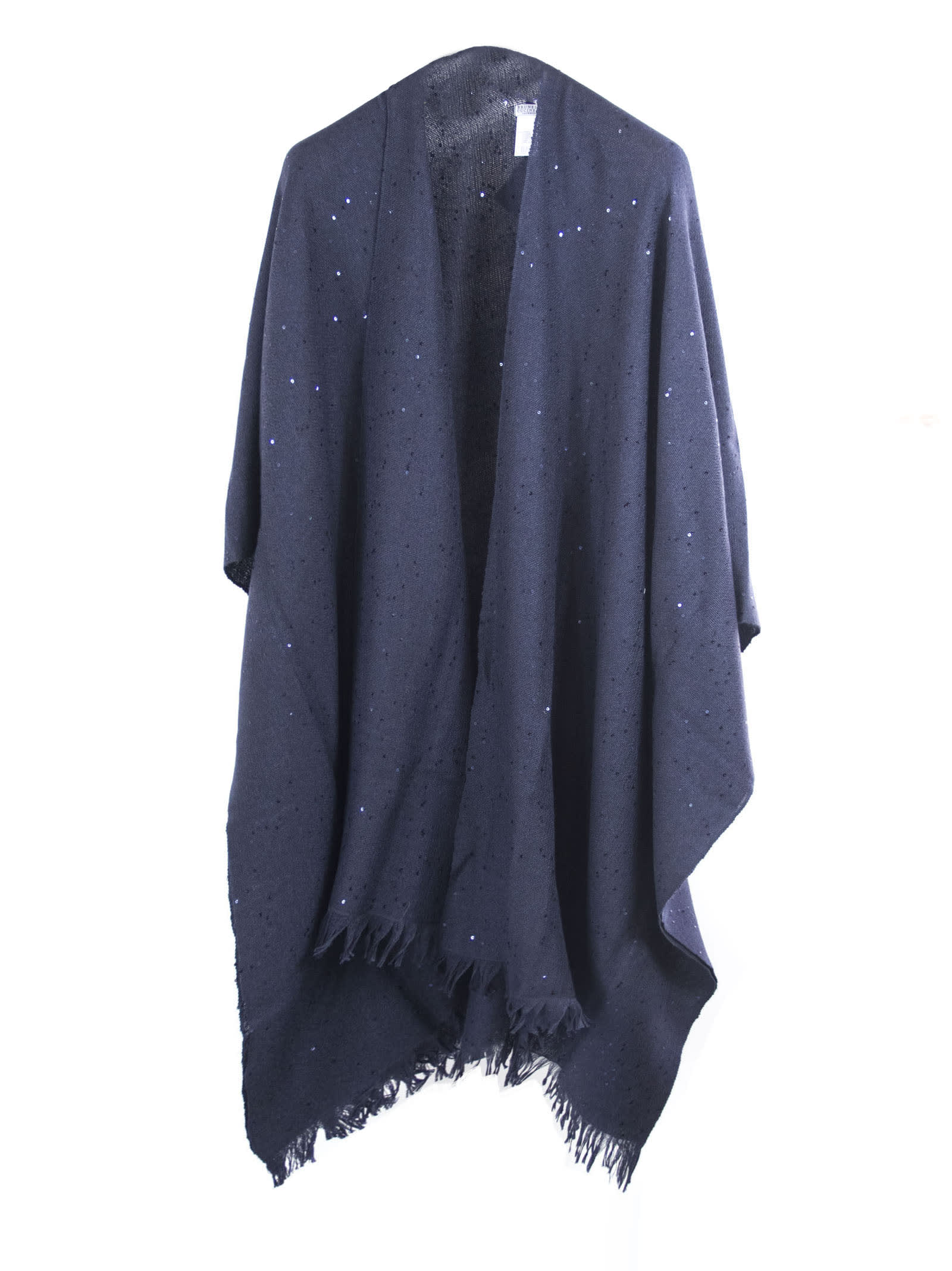 Brunello Cucinelli Blue Cashmere And Silk Blend Poncho