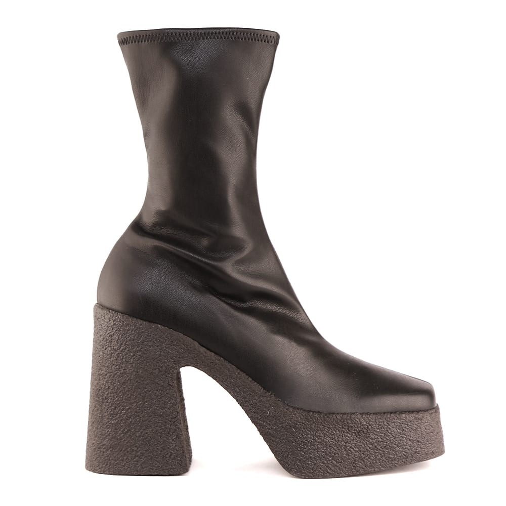 Stella Mccartney BLACK FAUX LEATHER ANKLE BOOTS WITH RUBBER HEEL