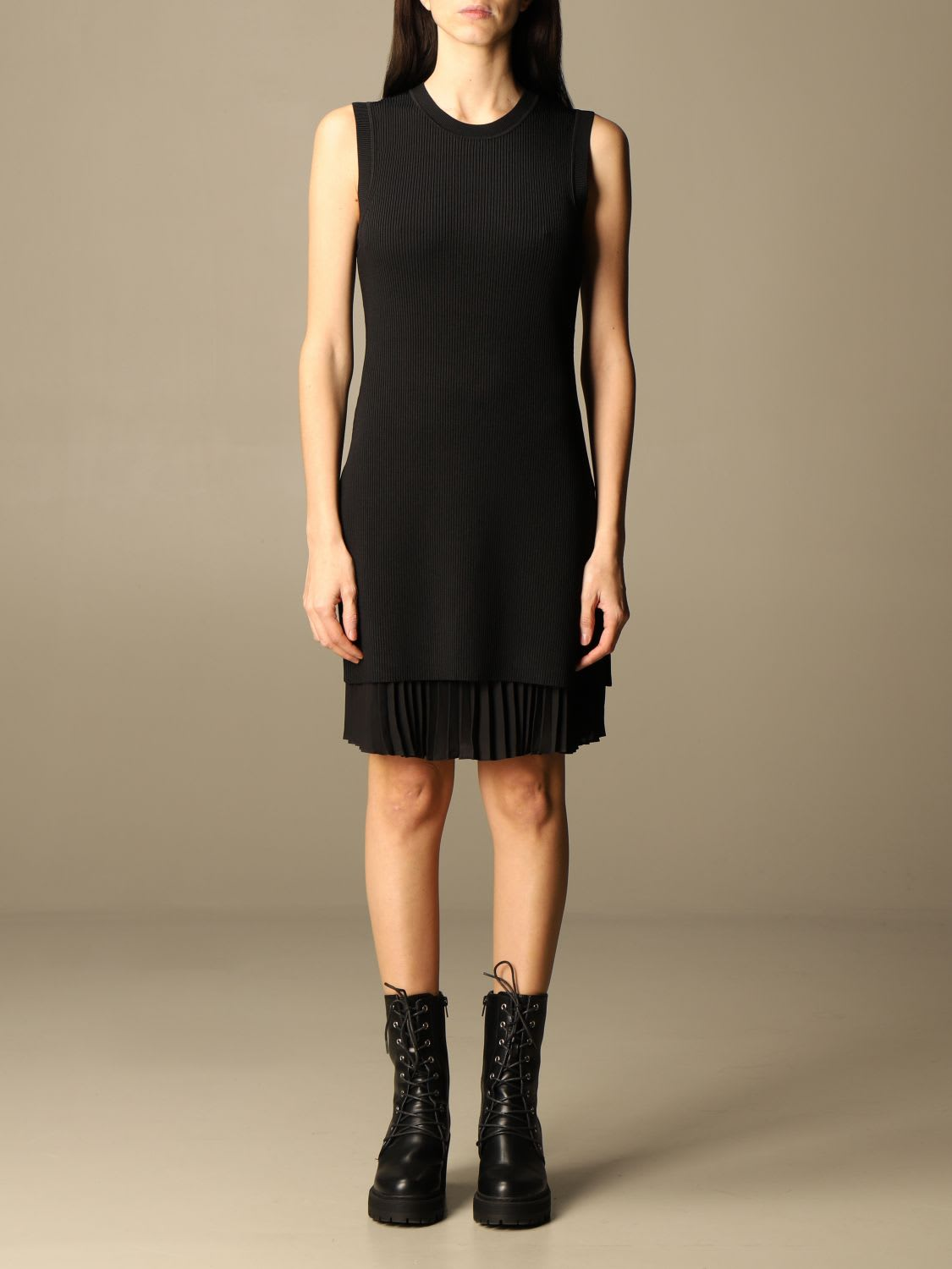 Theory Sweater Theory Dress In Ribbed Fabric With Pleated Flounce