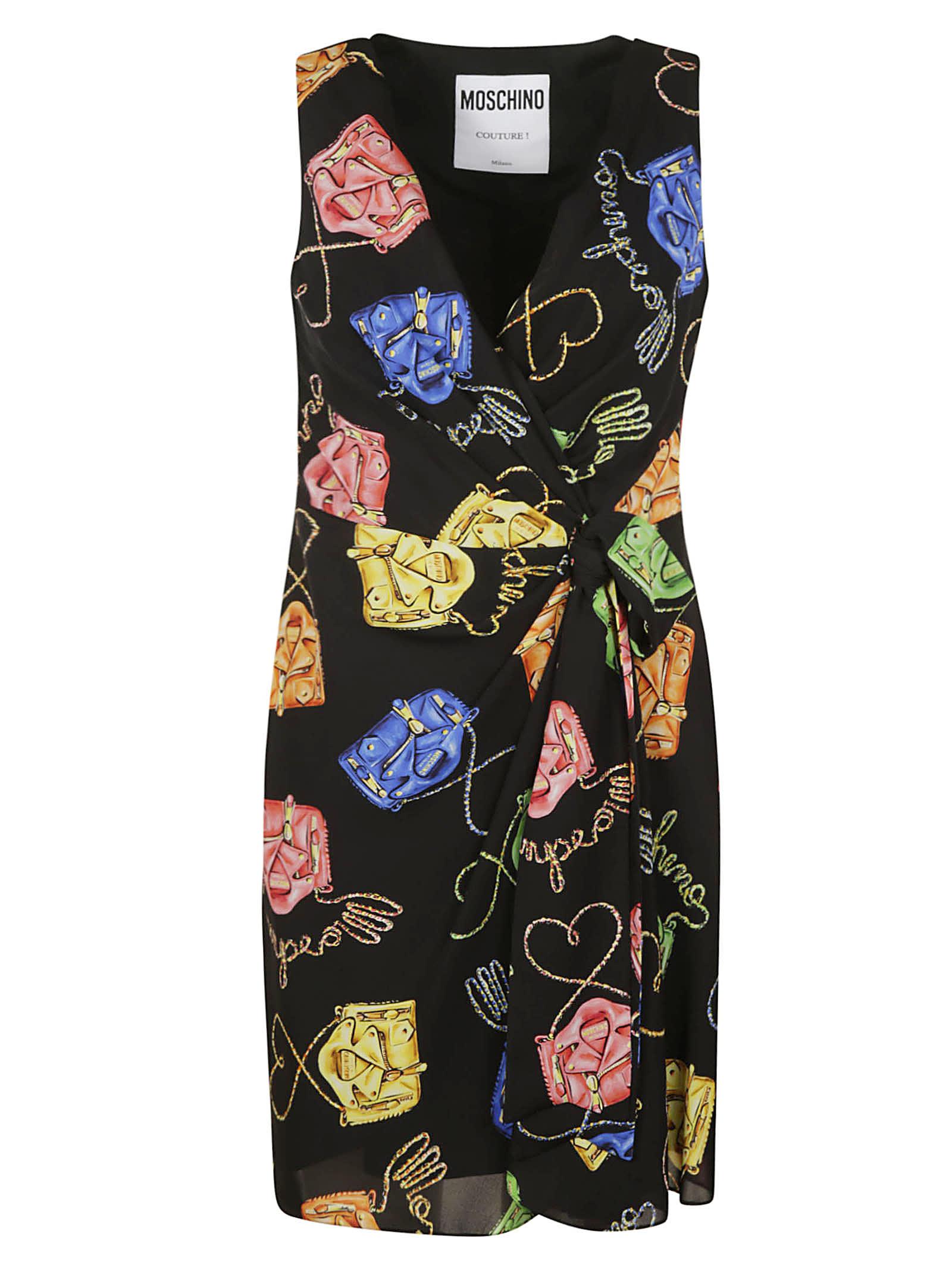 Moschino V-neck Sleeveless Printed Dress
