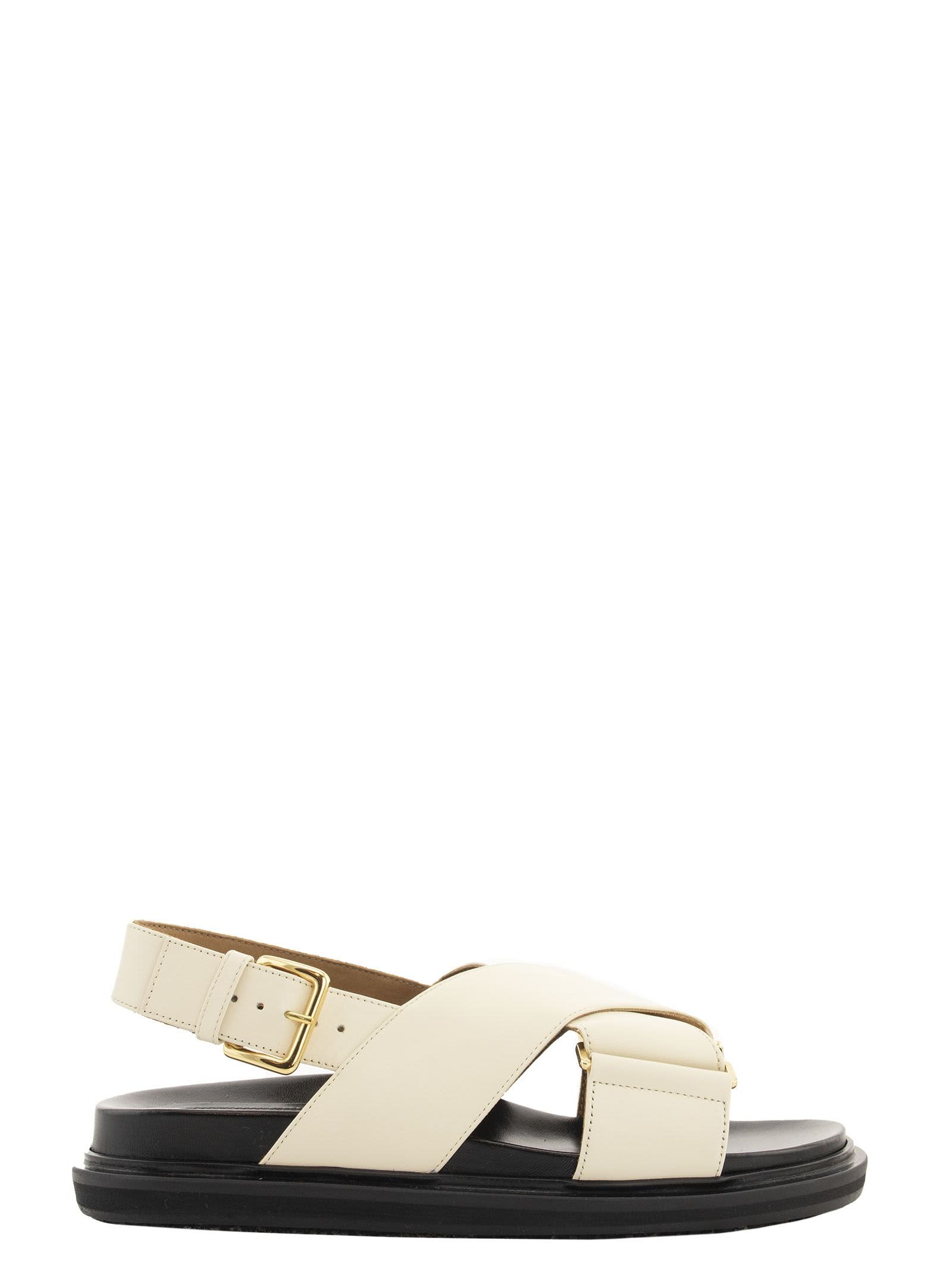 Marni Criss-cross Fussbett In White Leather Sandals